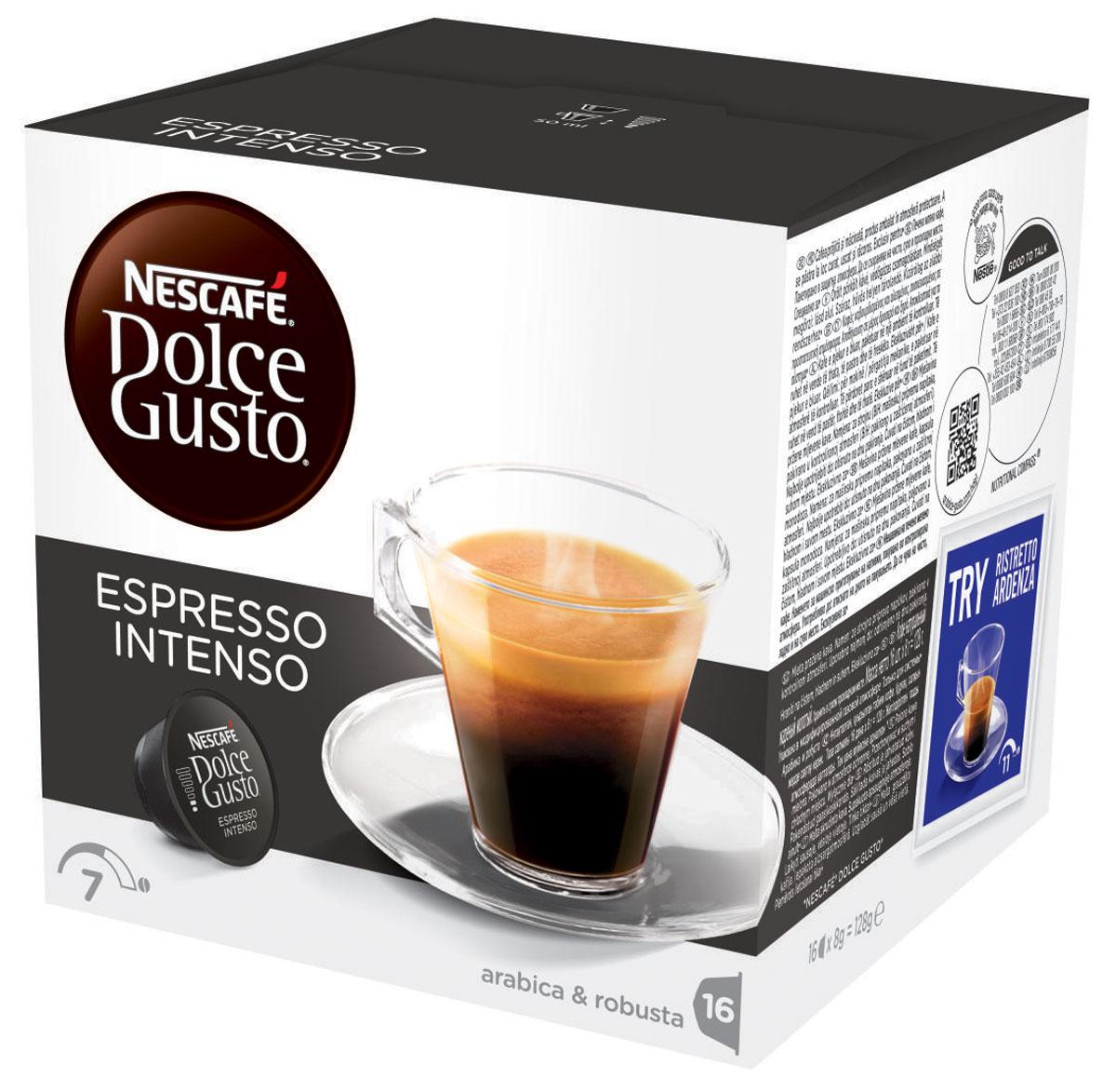 Nescafe Dolce Gusto Espresso Intenso кофе в капсулах, 16 шт12045793Если вы любите выпить чашечку эспрессо после ужина, вам понравится и капсульный эспрессо Intenso из кофе средней прожарки. Intenso обладает изысканным ореховым ароматом, который добавляет дополнительную изюминку в вашу чашку. Теплая пряность и намеки на спелые летние фрукты придают этому капсульному кофе изысканную сложность с великолепным вкусом, подходящим для любого времени суток.Благодаря максимальному давлению до 15 бар в кофемашинах Nescafe Dolce Gusto, эти капсулы не только создают вкусный эспрессо, но и оформляют ваш напиток аппетитным слоем пенки. Шелковая пенка медового цвета дополняет великолепный вкус вашего Intenso из капсулы эспрессо с самого первого глотка. Восхитительные ароматы миндаля и вишни делают эспрессо Intenso идеальным для смакования после ужина с друзьями или просто как приятный способ отвлечься от забот.
