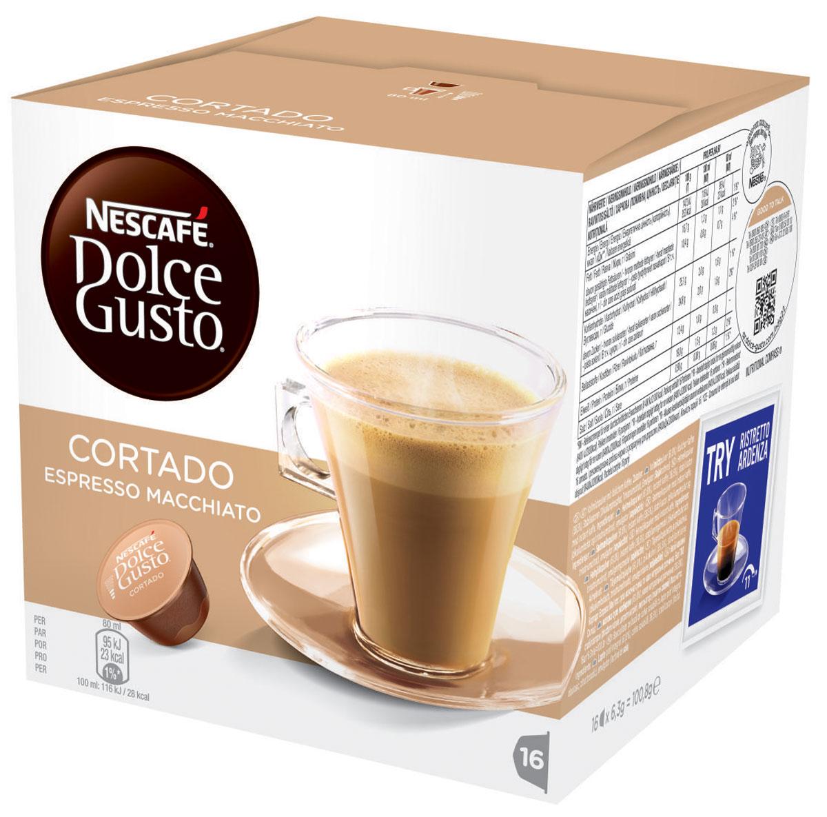 Nescafe Dolce Gusto Cortado (эспрессо с молоком) кофе в капсулах, 16 шт12121894Теплые и богатые напитки эспрессо макиато абсолютно изумительны. Испанцы называют их Cortado. Nescafe называет их вкусняшки.Эти продуманные напитки состоят из богатой композиции кофе и молока – все в одной капсуле. Идеальные для употребления на ходу или для долгого смакования в любое время дня – эти напитки эспрессо будут великолепным дополнением к любой кофейной коллекции.Натуральные, с ярким ароматом, капсулы эспрессо макиато сохраняют аппетитную насыщенность классического эспрессо, а молоко добавляет напитку нечто особенное. Бархатистая пенка – обязательное украшение для любого эспрессо, а у этого кофе она имеет фантастический вкус с самого первого глотка. Но самое лучшее то, что этот кофе чрезвычайно просто приготовить, поскольку и молоко, и композиция эспрессо искусно смешаны в одной капсуле.