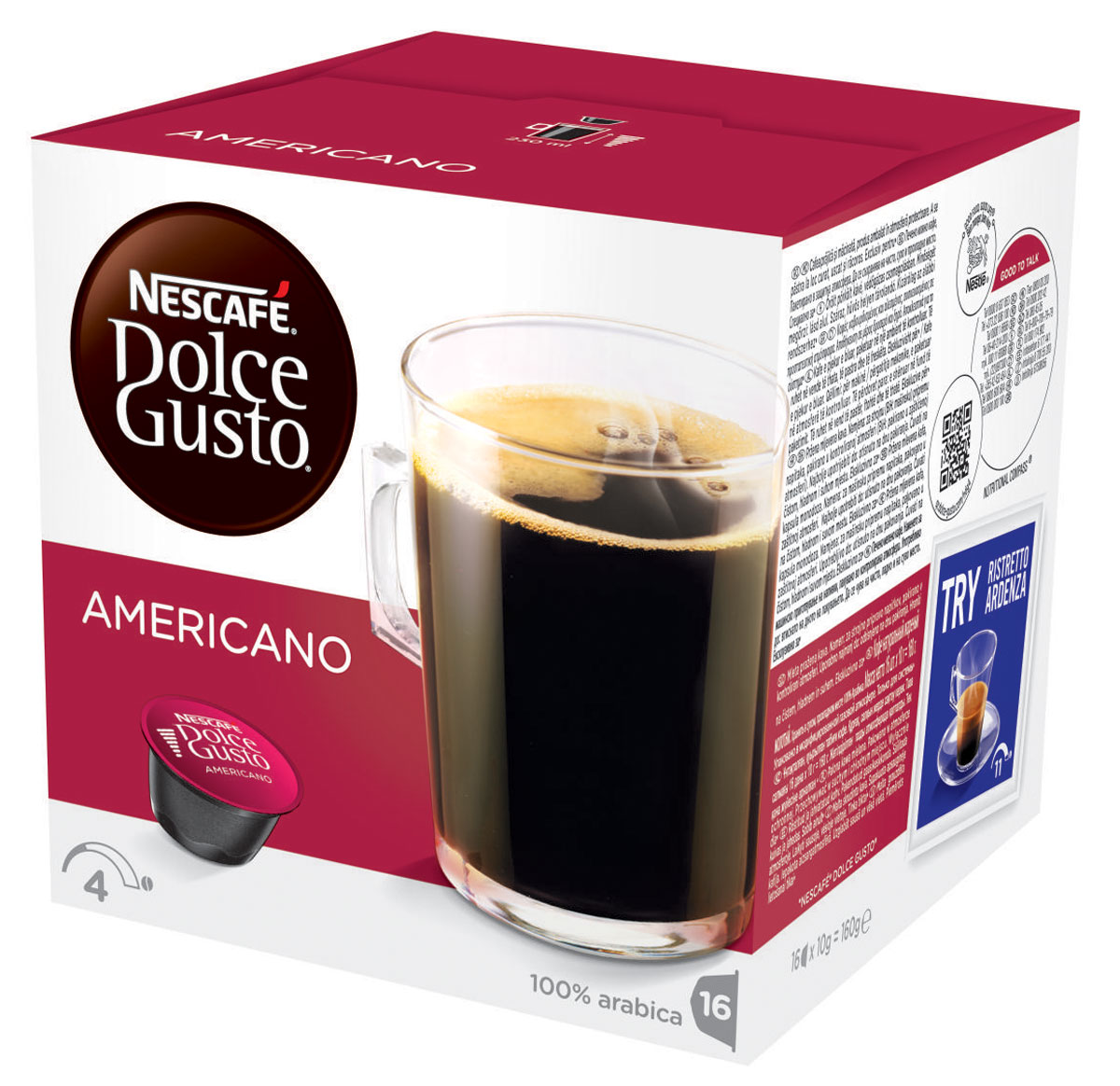 Nescafe Dolce Gusto Americano кофе в капсулах, 16 шт12115461Nescafe Dolce Gusto Americano – просто обжаренный и перемолотый кофе, но это не должно вводить вас в заблуждение. Это стильная мягкая композиция, которой можно наслаждаться в любое время дня. Приготовленный из отборных обжаренных кофейных зерен американо можно подавать с молоком или без него, чтобы получить вкус свежеприготовленного кофе в любом виде, который вам нравится.Легкая прожарка простого, но надежного купажа из 100% зерен Арабики делает капсульный кофе американо чуть менее насыщенным, чем лунго или гранде, но все еще с тем же вкусом из кофейни, который вы любите. Идеальный для удачного начала дня, подавайте его в большой чашке, чтобы полностью насладиться ароматом.