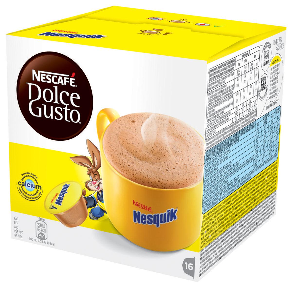 Nescafe Dolce Gusto Nesquik какао в капсулах, 16 шт12142996Нет ничего лучше чашечки ароматного согревающего шоколадного напитка Nescafe Dolce Gusto Nesquik. Насладитесь вкуснейшим напитком - неважно, готовите ли вы его ребенку или сами желаете на миг вернуться в мир детства. Кролик Квики мгновенно наполнит вашу чашку горячим ароматным какао-напитком.Состав капсулы: молоко сухое цельное (46,1%), сахар, какао порошок (10,5%), молоко сухое обезжиренное, ароматизаторы, минеральные вещества (карбонат кальция и карбонат магния), соль, экстракт дрожжей, витамины (С, B1, ниацин, пантотеновая кислота, В6, фолиевая кислота), корица.