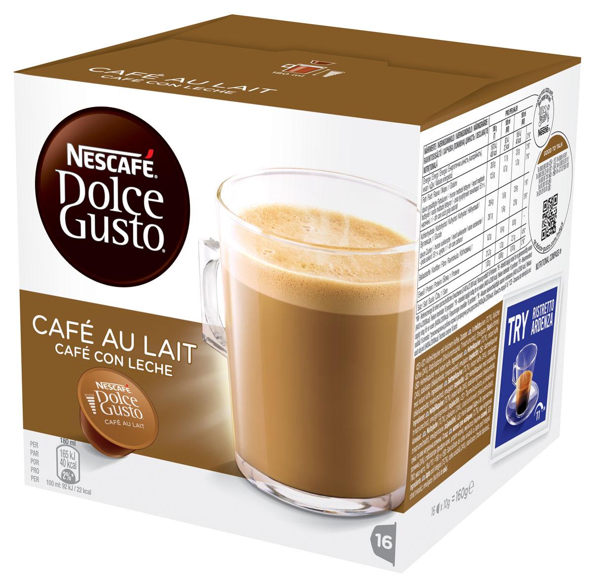 Nescafe Dolce Gusto Кофе О Ле, кофе в капсулах, 16 шт12148061Cafe Au Lait - это непревзойденное сочетание энергии кофе и сладости молока подарит Вам заряд бодрости на целый день! Для приготовления большой чашки Cafe Au Lait достаточно всего лишь одной капсулы. Капсульная система NESCAFE Dolce Gusto это инновационная система приготовления кофе высокого качества специально разработанная для использования в домашних условиях. Герметичные капсулы оптимизируют давление воды для каждого вида кофе. Кофе-машина NESCAFE Dolce Gusto использует профессиональное давление в 15 бар, что каждый раз гарантирует идеальный вкус и качество кофе.Кофе: мифы и факты. Статья OZON Гид