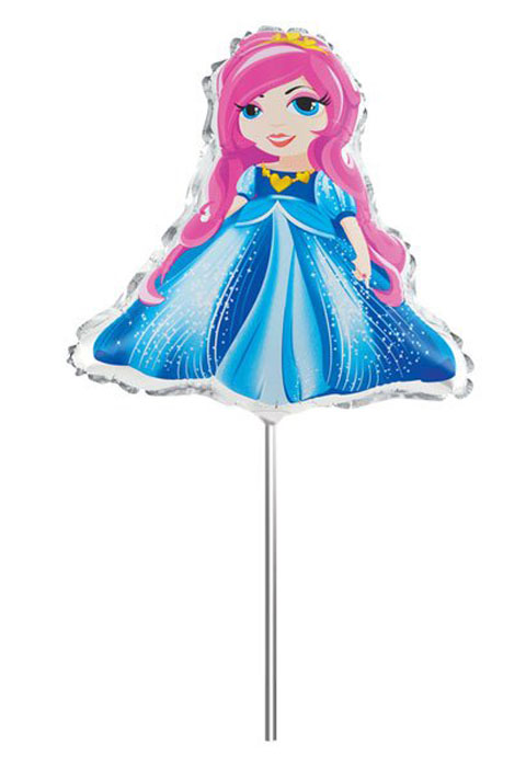 Action! Шар фольгированный на палочке Принцесса -  Воздушные шарики