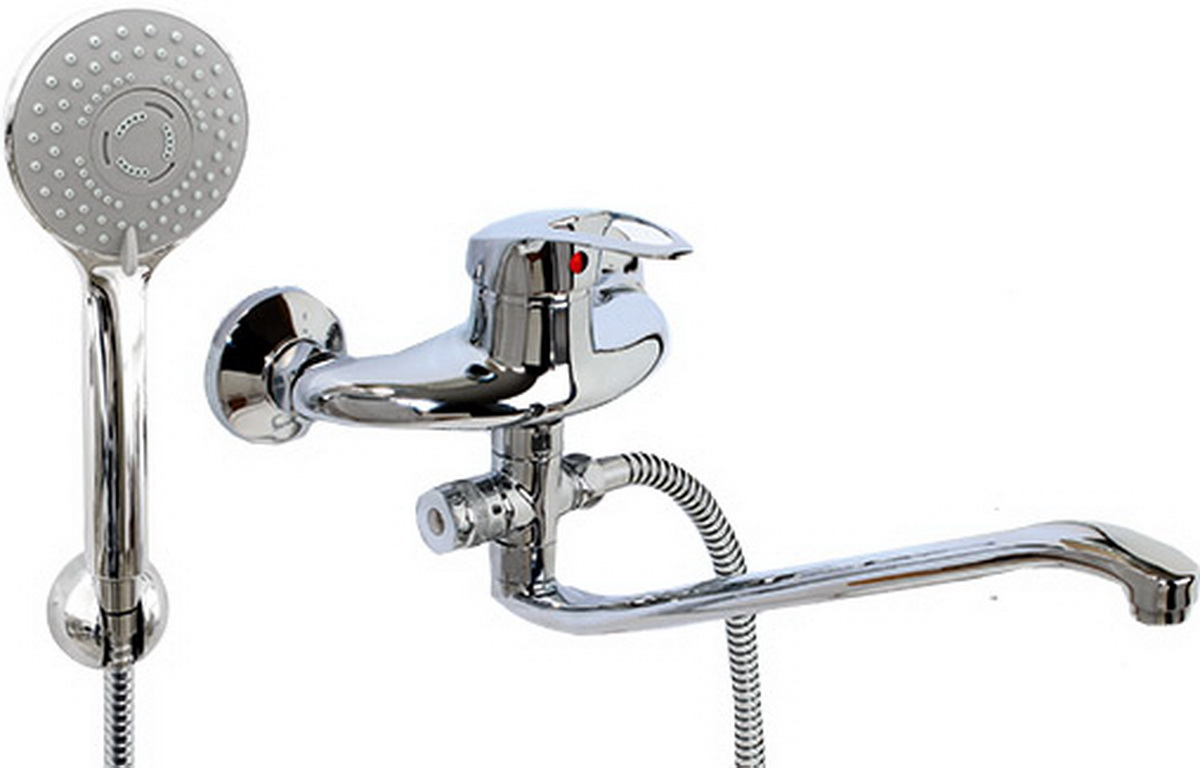 """Смеситель для ванны и умывальника Argo Lux Olio, картриджный, S-образный излив22915Смеситель для ванны и умывальника Argo Olio предназначен для смешивания холодной и горячей воды, устанавливается на стену. Выполнен из высококачественной латуни с покрытием из хрома. Особенности: Запорный механизм: картридж d-40 мм Short-size.Тип дайвотера: картриджный.Аэратор: ячейковый М24х1 OnlyPlast 10-13 л/мин при 0,3 МПа. Крепеж: эксцентрик 3/4"""" x 1/2"""", прокладка-фильтр. Длина излива: 29,5 см.Комплектация: душевой шланг 150 см, оплетка - хромированная нержавеющая сталь, двойной замок, 1/2,душевая лейка Lux трехпозиционная: душ, массаж, душ/массаж,кронштейн двухпозиционный."""