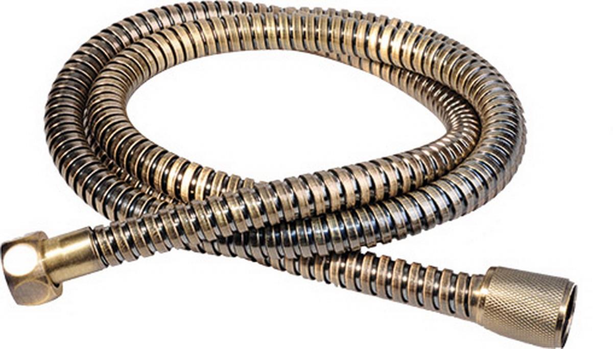 Шланг для душа Argo Eur, цвет: латунь, 150 см. 3310133101Универсальный гибкий шланг для душа Argo Eur с внешней оболочкой изнержавеющей стали, сочетает в себе отличные эксплуатационные характеристикии приятный дизайн. Прочный и надежный шланг эргономичен и прост в монтаже, удобен виспользовании. Длина: 150 см. Выходы шлага: 1/2. Тип фитинга: гайка - конус с насечкой.Тип соединения оплетки: двойной замок.