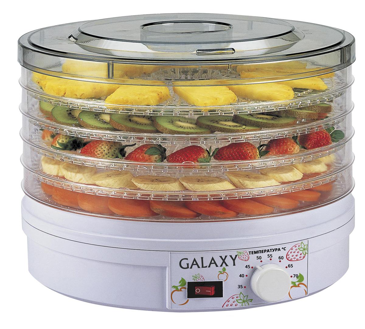 Galaxy GL2633 сушилка для овощей и фруктов4650067301563Сушка овощей и фруктов - это самый эффективный способ сохранить в них все важные для здоровья микроэлементы и витамины. С электросушилкой для продуктов Galaxy GL2633 процесс стал гораздо проще и эффективнее! Благодаря идеальному соотношению нужной температуры и скорости обдува продукты просушиваются равномерно и невероятно быстро!Во время сушки продуктов на открытом воздухе существует вероятность образования плесени и бактерий, ведь для качественной сушки очень важна неизменная температура окружающей среды. Кроме того, для сохранения полезных веществ, продукты должны просушиваться максимально быстро, чего бывает сложно добиться при сушке, к примеру, мяса или рыбы. С электросушилкой Galaxy GL2633 вы навсегда забудете об этих проблемах!