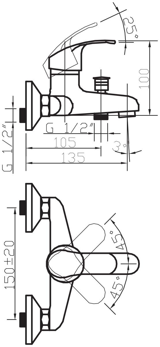"""Смеситель для ванны Argo """"Oksa"""" предназначен для смешивания холодной и горячей воды, устанавливается на стену. Выполнен из высококачественного металла с покрытием из никеля и хрома.  Запорный механизм: картридж d-35 мм """"Short-size""""  Тип дайвотера: штоковый     Аэратор: ячейковый М24х1 """"OnlyPlast"""" 10-13 л/мин при 0,3 Мпа    Крепеж: эксцентрик 3/4"""" x 1/2"""", прокладка-фильтр       Комплектация: Душевой шланг 150 см, хромированная нержавеющая сталь, двойной замок, 1/2""""   Душевая лейка Mono однопозиционная: душ    Кронштейн"""
