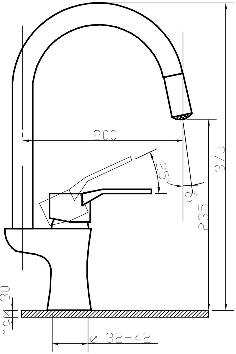 """Светодиодный смеситель для кухни Argo """"Form"""" предназначен для смешивания холодной и горячей воды, устанавливается на мойку. Выполнен из высококачественного металла с покрытием из никеля и хрома.Запорный механизм: картридж d-40 мм """"Short-size""""  Аэратор: cветодиодный """"Three-color"""", ячейковый М22х1 """"OnlyPlast"""" 10-13 л/мин при 0,3 МПа Крепеж: двухшточный """"Double-rod""""  Комплектация: Гибкая подводка """"Argo"""" (длина 50 см)"""