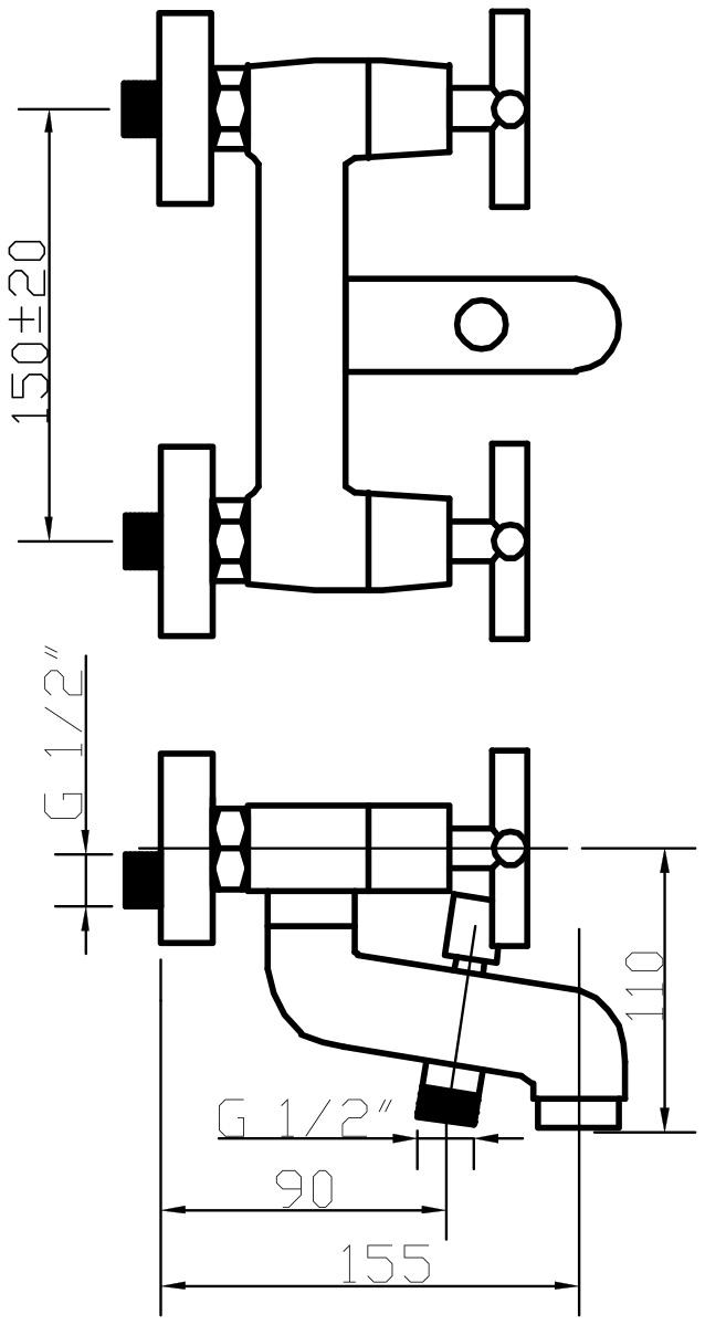 """Смеситель для ванны Argo """"York"""" предназначен для смешивания холодной и горячей воды, устанавливается на стену. Выполнен из  высококачественной латуни с покрытием из хрома. Запорный механизм: кран букса 1/2"""" 90° """"Керамика"""" 7,7х20. Тип дайвотера: штоковый. Аэратор: ячейковый М28х1 """"Perlator Honycomb"""" 16-20 л/мин при 0,3 МПа. Крепеж: эксцентрик усиленный 3/4"""" x 1/2"""" + прокладка-фильтр."""