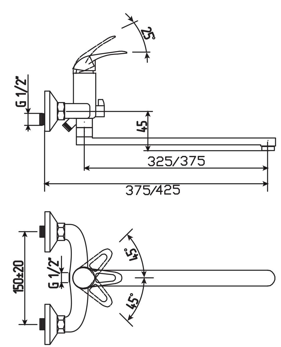 """Смеситель для ванны и умывальника Argo предназначен для смешивания холодной и горячей воды, крепится на стену. Смеситель изготовлен из качественного металла с покрытием из никеля и хрома. Запорный механизм: картридж d-35 мм """"short-size"""".Аэратор: М24х1 """"Only-Plast"""" 10-13 л/мин при 0,3 МПа.Лейка """"Lux"""" трехпозиционная: душ, массаж, душ/массаж.Оплетка: хромированная нержавеющая сталь.Крепеж: эксцентрик 3/4"""" х 1/2"""" + прокладка-фильтр.Длина излива: 37,5 см."""