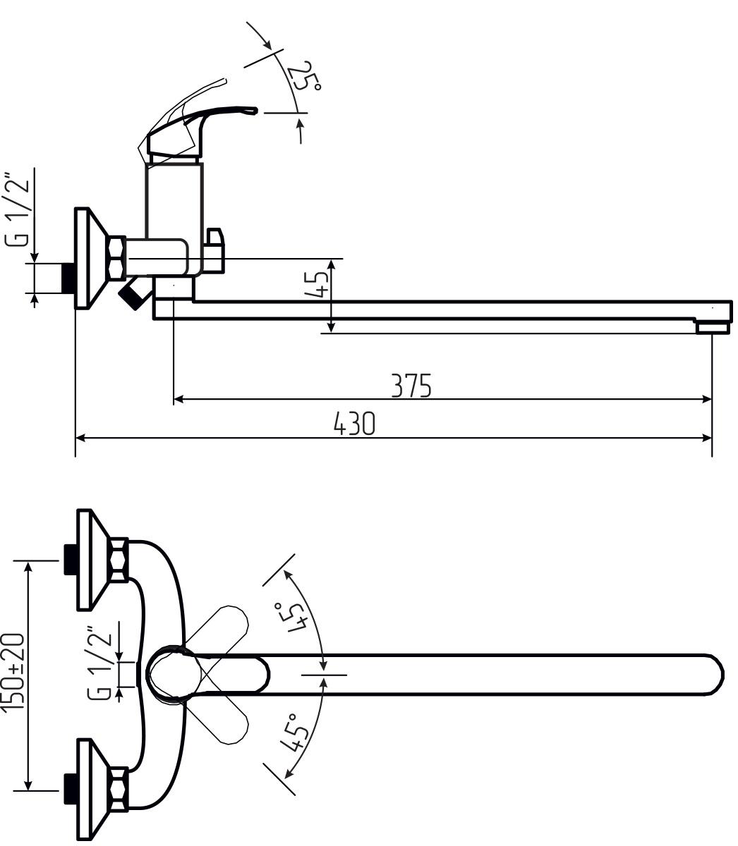 """Смеситель для ванны и умывальника Argo """"Oksa"""" предназначен для смешивания холодной и горячей воды, устанавливается на стену. Выполнен из высококачественной латуни с покрытием из хрома. Запорный механизм: картридж d-35 мм """"Long-size"""". Тип дайвотера: керамбукса. Аэратор: ячейковый М24х1 """"OnlyPlast"""" 10-13 л/мин при 0,3 МПа. Крепеж: эксцентрик 3/4"""" x 1/2"""", прокладка-фильтр. Длина излива: 37,5 см."""