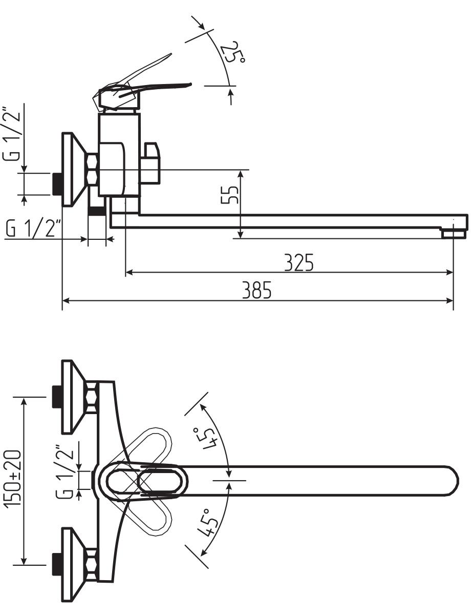 """Смеситель для ванны и умывальника Argo """"Boss"""" предназначен для смешивания холодной и горячей воды, устанавливается на стену. Выполнен из высококачественного металла с покрытием из никеля и хрома.  Запорный механизм: картридж d-40 мм """"Short-size""""   Тип дайвотера: керамбукса   Аэратор: ячейковый М24х1 """"OnlyPlast"""" 10-13 л/мин при 0,3 МПа Крепеж: эксцентрик усиленный 3/4"""" x 1/22 + прокладка-фильтр      Комплектация: Душевой шланг 150 см, хромированная нержавеющая сталь, двойной замок, 1/2""""   Душевая лейка Lux трехпозиционная: душ, массаж, душ/массаж     Кронштейн двухпозиционный"""