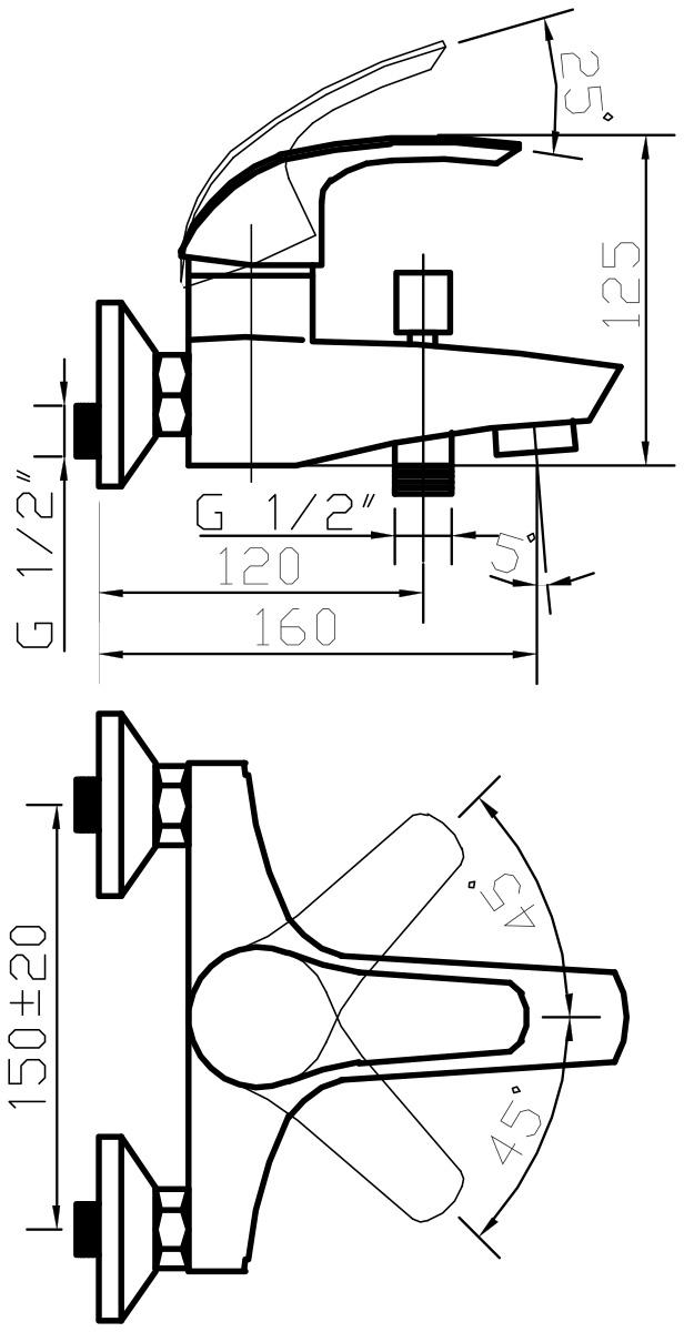 """Смеситель для ванны Argo """"Gamma"""" предназначен для смешивания холодной и горячей воды, устанавливается на стену. Выполнен из  высококачественного металла с покрытием из хрома. Корпус смесителя изготовлен путем токарно-фрезерной обработки цельнолитой заготовки.  Применение данной технологии исключает вероятность существования микропор и межкамерных утечек. Душевая лейка имеет 4 позиции: душ, массаж, аэро, душ/аэро. Запорный механизм: картридж d-40 мм """"Short-size"""" Sedal. Тип дайвотера: штоковый. Аэратор: М28х1 Neoperl Cascade SLC """"Антикалькар"""" 22,8-25,2 л/мин при 0,3 МПа. Крепеж: эксцентрик усиленный 3/4"""" x 1/2"""" с редуктором шума, прокладка-фильтр."""