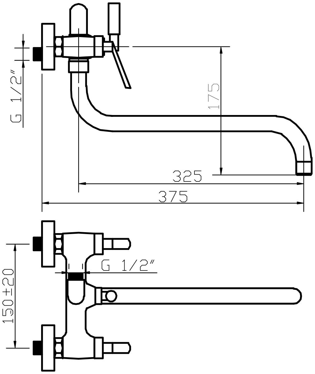 """Смеситель для ванны и умывальника Argo """"Montana"""" предназначен для смешивания холодной и горячей воды, устанавливается на стену. Выполнен из высококачественной латуни с покрытием из хрома. Запорный механизм: кран букса 1/2"""" 90° """"Керамика"""" 7,7 х 20 правостороннее/левостороннее закрытие. Тип дайвотера: картриджный. Аэратор: ячейковый М22х1 """"Only-Plast"""" d-26 мм, 10-13 л/мин при 0,3 МПа. Крепеж: эксцентрик усиленный 3/4"""" х 1/2"""" + прокладка-фильтр. Длина излива: 32,5 см."""