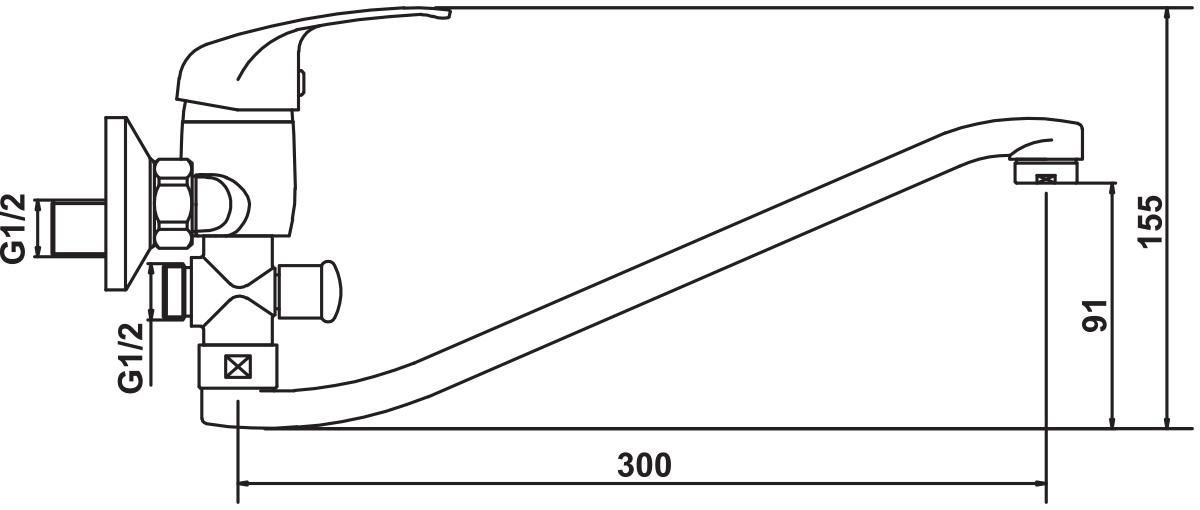 """Смеситель для ванны и умывальника Argo """"Stroy"""" предназначен для смешивания холодной и горячей воды, устанавливается на стену. Выполнен из высококачественной латуни с покрытием из хрома. Картридж d-35 мм """"short-size"""".  Крепеж эксцентрик 3/4"""" х 1/2"""". Аэратор м24х1 наружная резьба """"only plast"""" 10-13 л/мин при 0,3 МПа. Длина излива: 29,5 см."""