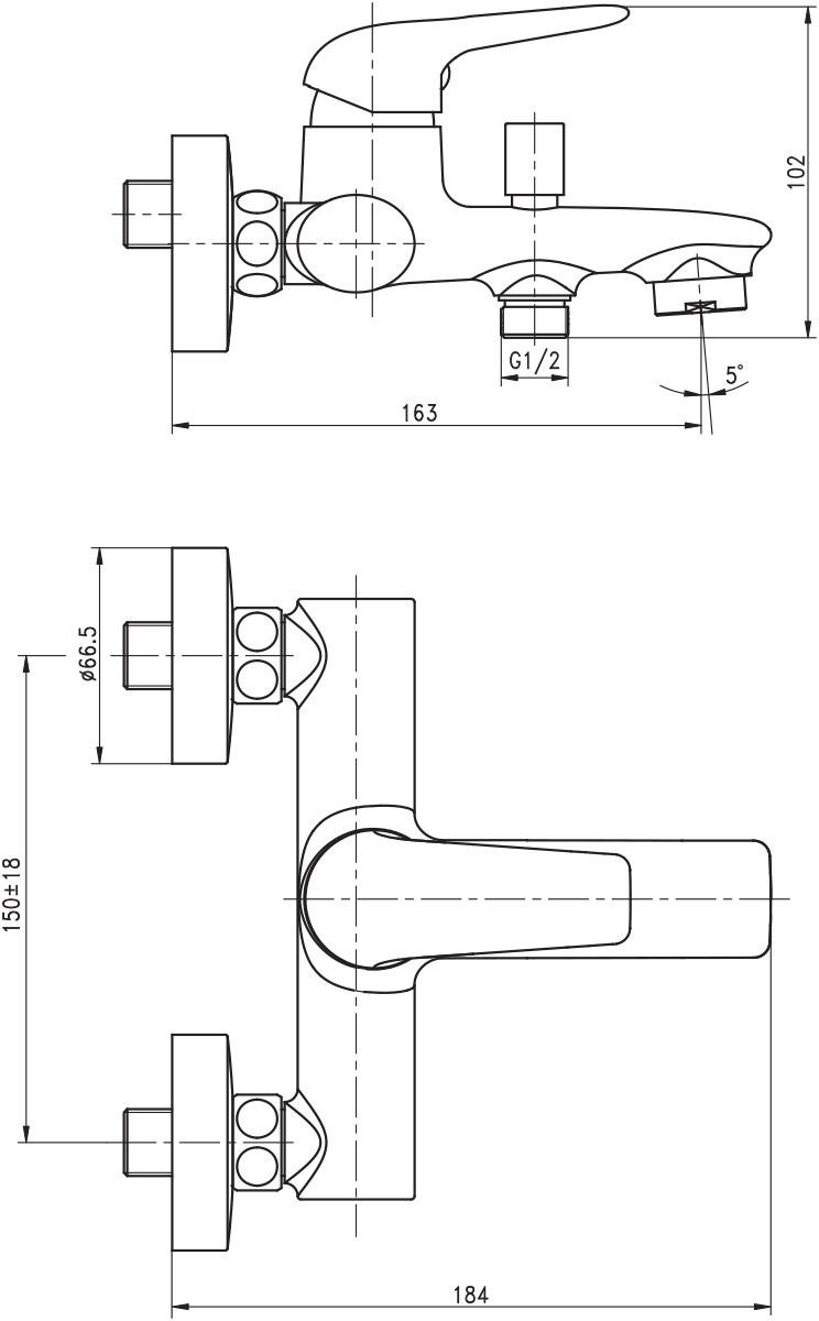 """Смеситель для ванны Argo """"Eva"""" предназначен для смешивания холодной и горячей воды, устанавливается на стену. Выполнен из  высококачественной латуни с покрытием из хрома. Запорный механизм: картридж d-35 мм """"Short-size"""" FLUHS. Тип дайвотера: штоковый. Аэратор: М28х1 наружная резьба Neoperl Cascade SLC """"Антикалькар"""" 22,8-25,2 л/мин при 0,3 Мпа. Крепеж: эксцентрик усиленный 3/4"""" х 1/2"""" с редуктором шума + прокладка-фильтр."""