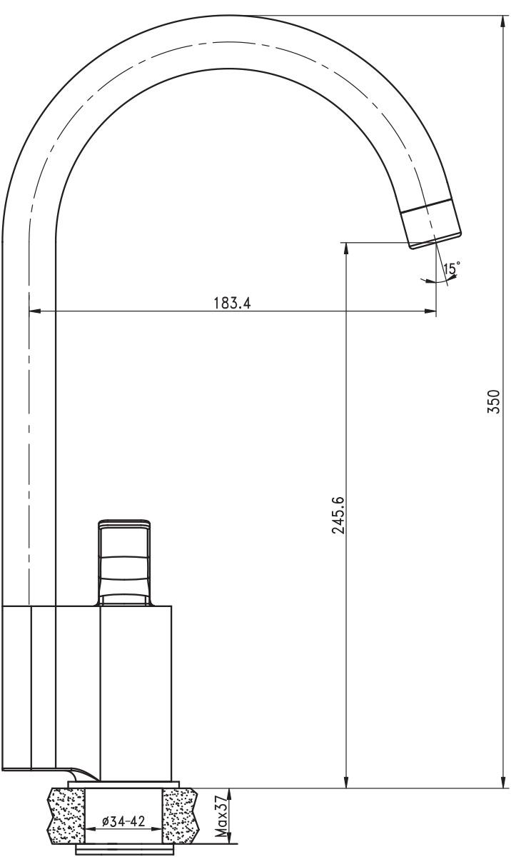 """Смеситель для кухни Argo """"Adam"""" предназначен для смешивания холодной и горячей воды, устанавливается на мойку. Выполнен из высококачественного металла с покрытием из никеля и хрома. В комплекте гибкая подводка """"Mateu"""" (длина 50 см).   Запорный механизм: картридж d-35 мм Fluhs """"Short-size""""   Аэратор: М22х1 внутренняя резьба Neoperl Cascade Slc """"Антикалькар"""" 7,5 - 9 л/мин при 0,3 Мпа Крепеж: одношточный """"Single-rod""""."""