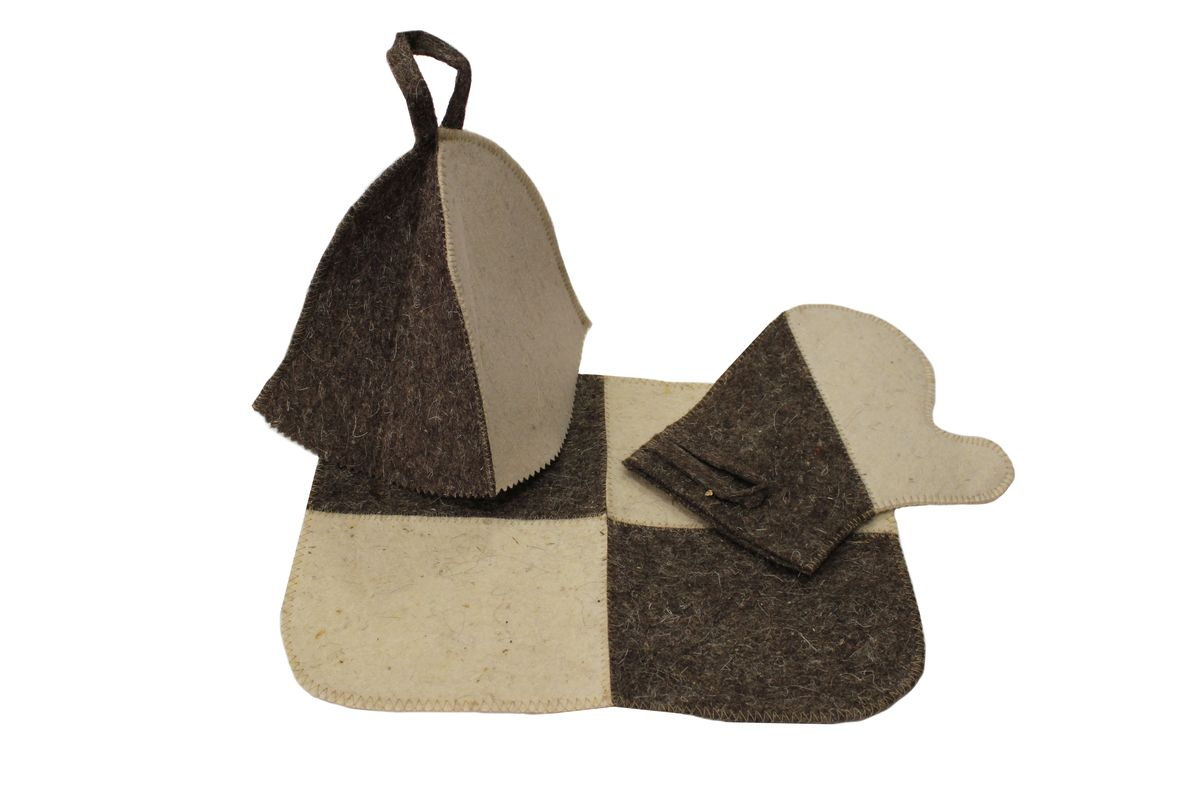 Набор для бани и сауны Proffi Home, 3 предметаPS0186Оригинальный набор для бани Proffi Home включает в себя шапку, рукавицу и коврик. Шапка, рукавица и коврик - это незаменимые аксессуары для любителей попариться в русской бане и для тех, кто предпочитает сухой жар финской бани. Шапка защитит волосы от сухости и ломкости, голову от перегрева и предотвратит появление головокружения. Рукавица обезопасит ваши руки от появления ожогов, а коврик - от высоких температур при контакте с горячей лавкой в парилке. На изделиях имеются петельки, с помощью которых их можно повесить на крючок в предбаннике. Такой набор станет отличным подарком для любителей отдыха в бане или сауне.