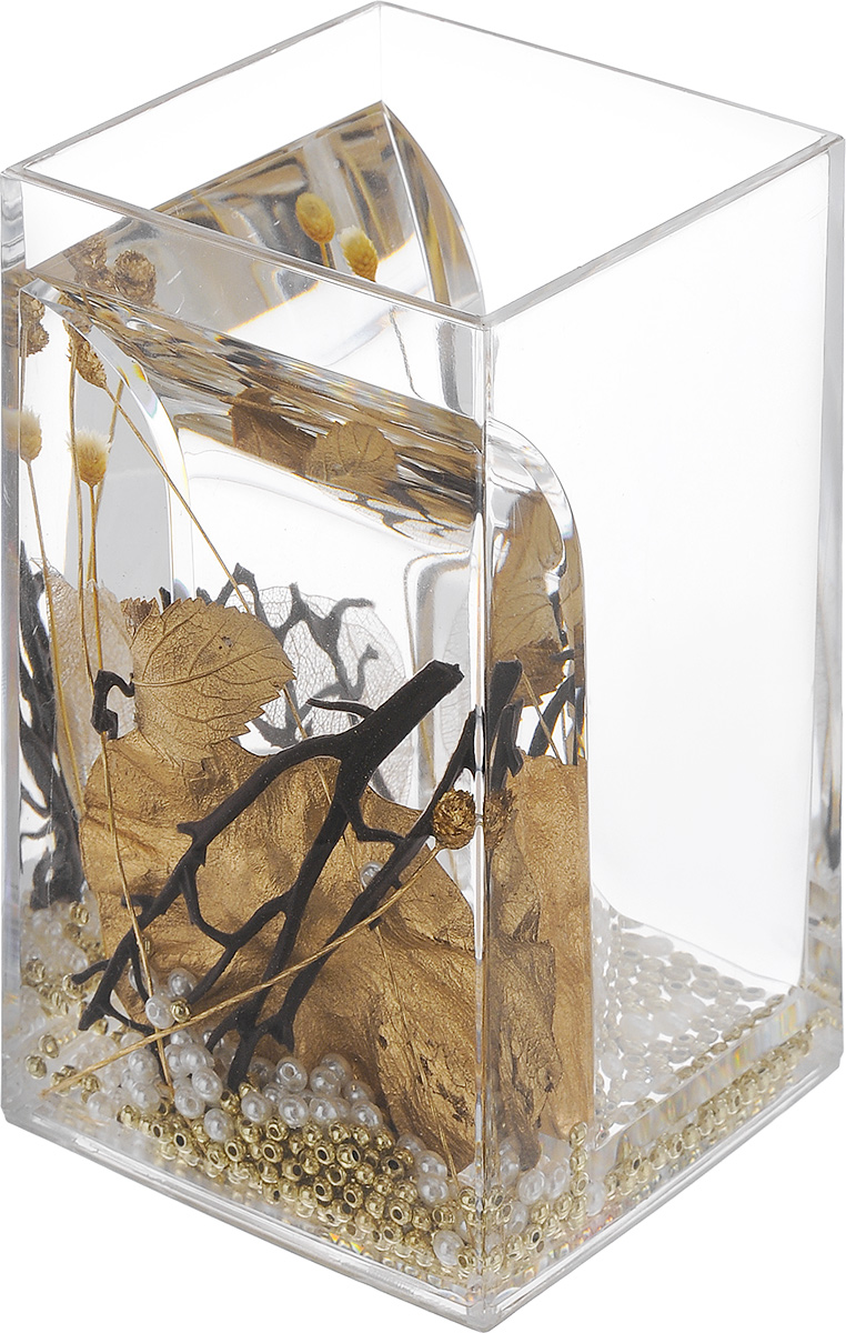 """Оригинальный стакан для ванной комнаты Vanstore """"Aurum"""" изготовлен из пластика. В стакане удобно хранить зубные щетки, пасту и другие принадлежности. Изделие имеет двойные стенки, между которыми находится прозрачный гелевый наполнитель с декоративными элементами.Стильный дизайн изделия притягивает взгляд и прекрасно подойдет к интерьеру в ванной комнаты.Размер стакана: 6,5 х 6,5 х 12 см."""