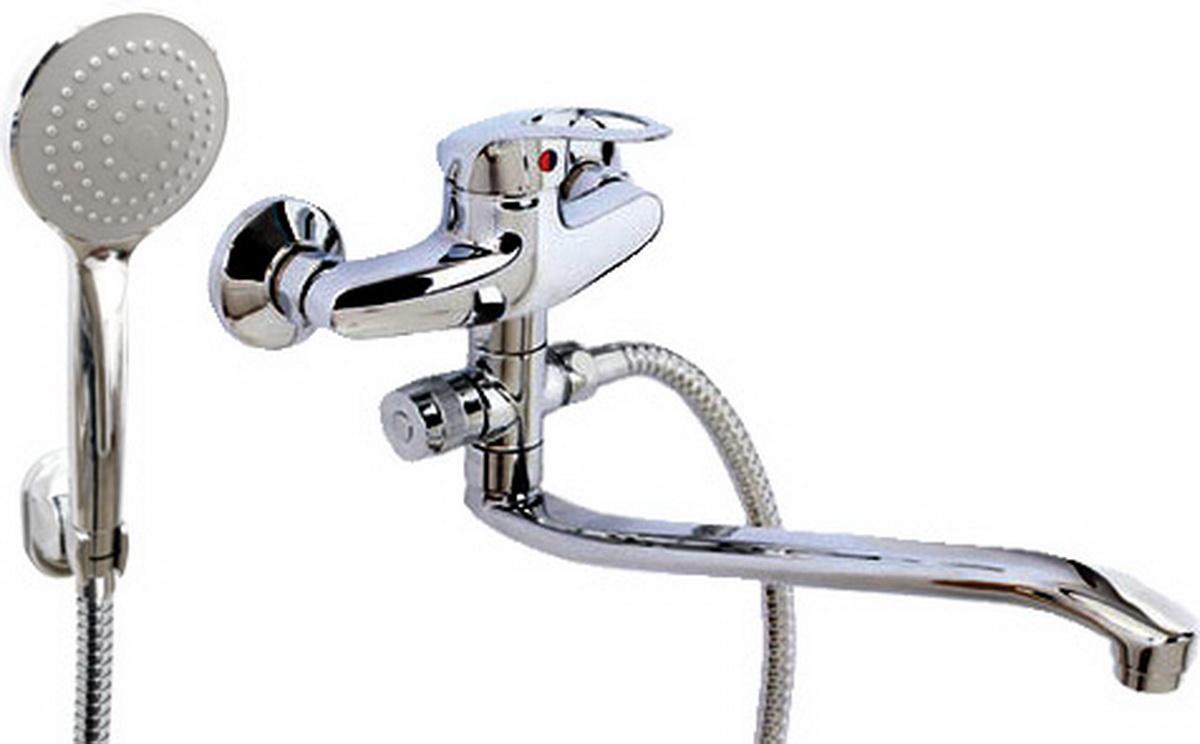цена на Argo смеситель для ванны и умывальника Olio, d-40, картриджный, S образный излив 295 мм