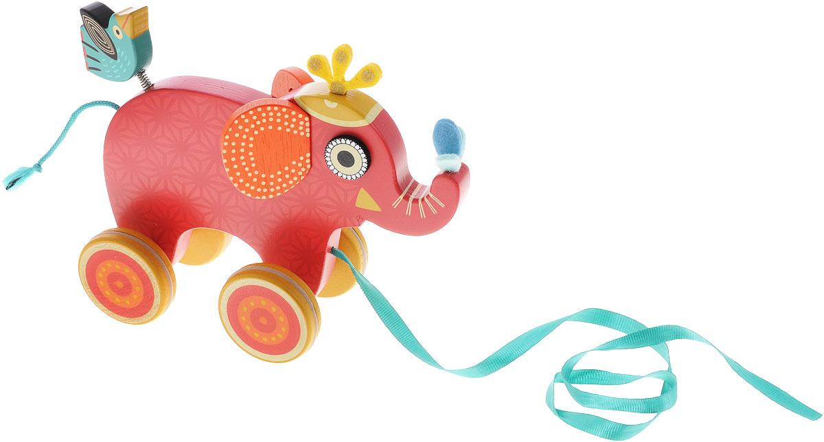 Djeco Игрушка-каталка Слоник Инди игрушка каталка жираф деревянная