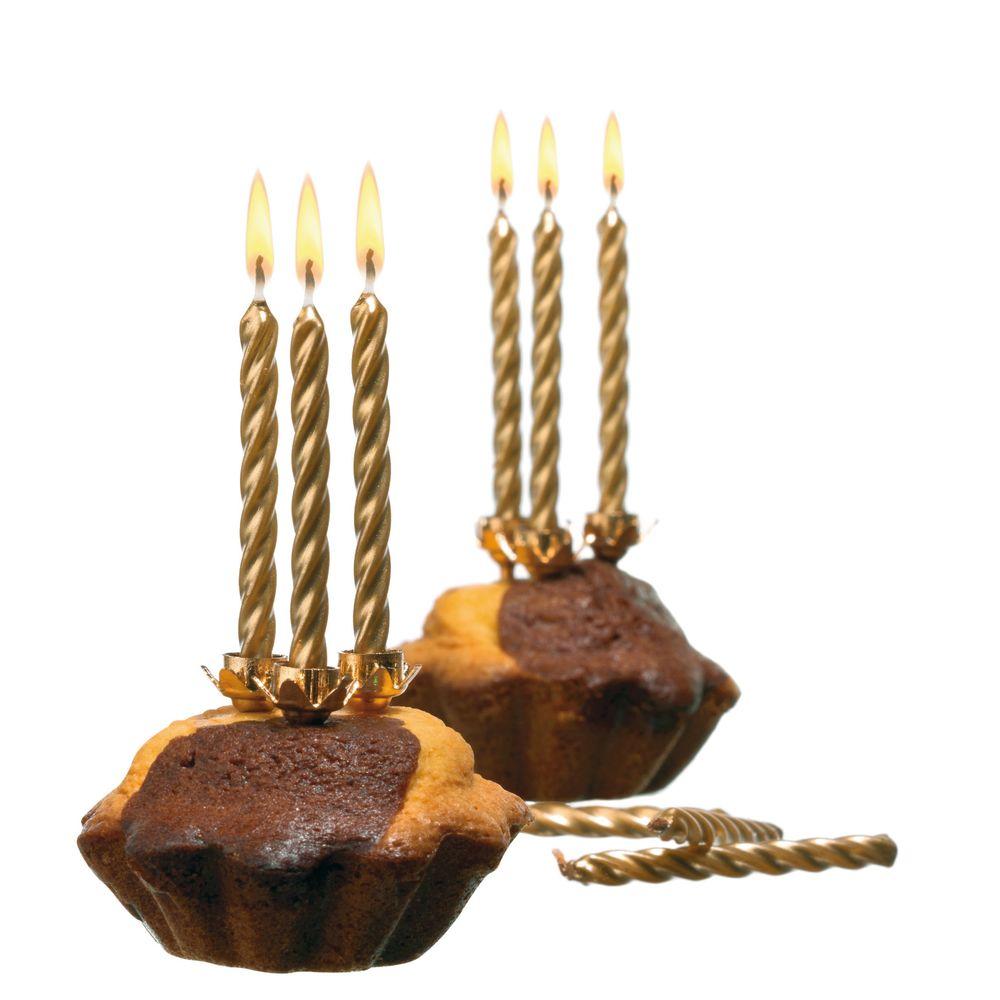 Susy Card Свечи для торта цвет золотистый 10 шт susy card свеча цифра для торта радужная 7 лет