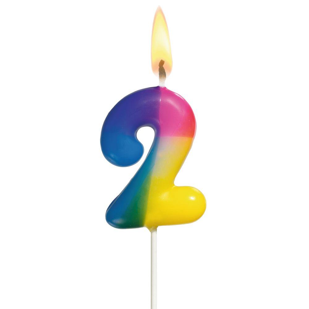 Susy Card Свеча-цифра для торта Радужная 2 года susy card свеча цифра для торта 3 года цвет синий