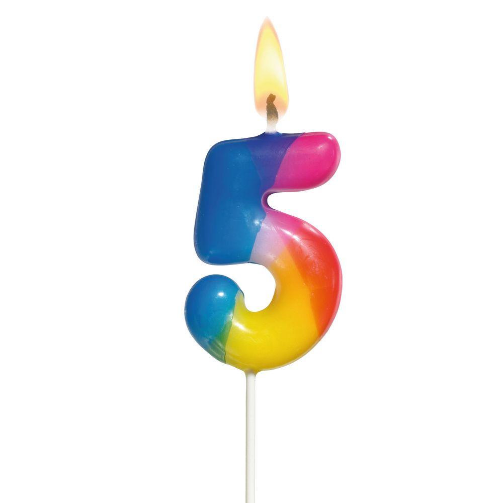 Susy Card Свеча-цифра для торта Радужная 5 лет susy card свечи для торта цвет золотистый 10 шт