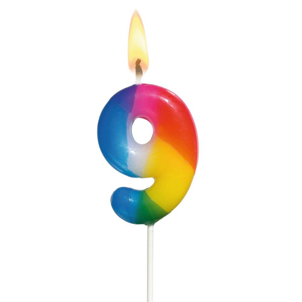 Susy Card Свеча-цифра для торта Радужная 9 лет -  Свечи для торта