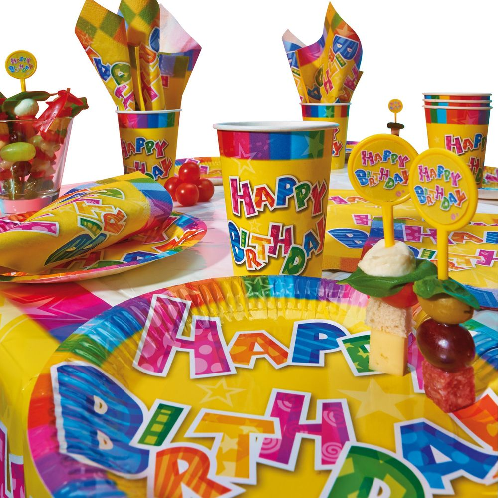 Susy Card Набор одноразовой посуды и аксессуаров для праздника Happy Birthday 31 предмет
