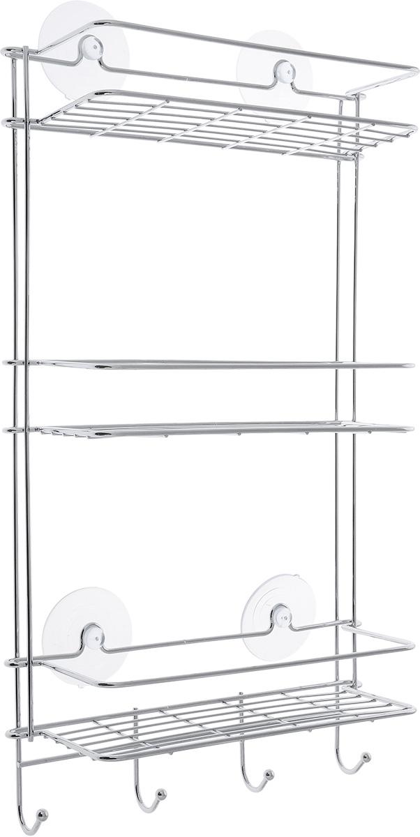Полка прямая Vanstore Neo, трехъярусная, 28 х 11 х 52 см063-77Удобная и практичная прямая полка Vanstore Neo выполнена из хромированной стали. Она крепится при помощи четырех присосок (входят в комплект).Полка сэкономит место на вашей кухне или в ванной комнате. Вы можете расположить на ней ваши шампуни, гели для душа и различные крема всегда будут под рукой. Под нижним ярусом имеются полочка и четыре крючка, на которые можно вешать полотенца.Благодаря компактным размерам полка впишется в интерьер вашего дома и позволит вам удобно и практично хранить предметы домашнего обихода.Размер: 26 х 11,5 х 54 см.