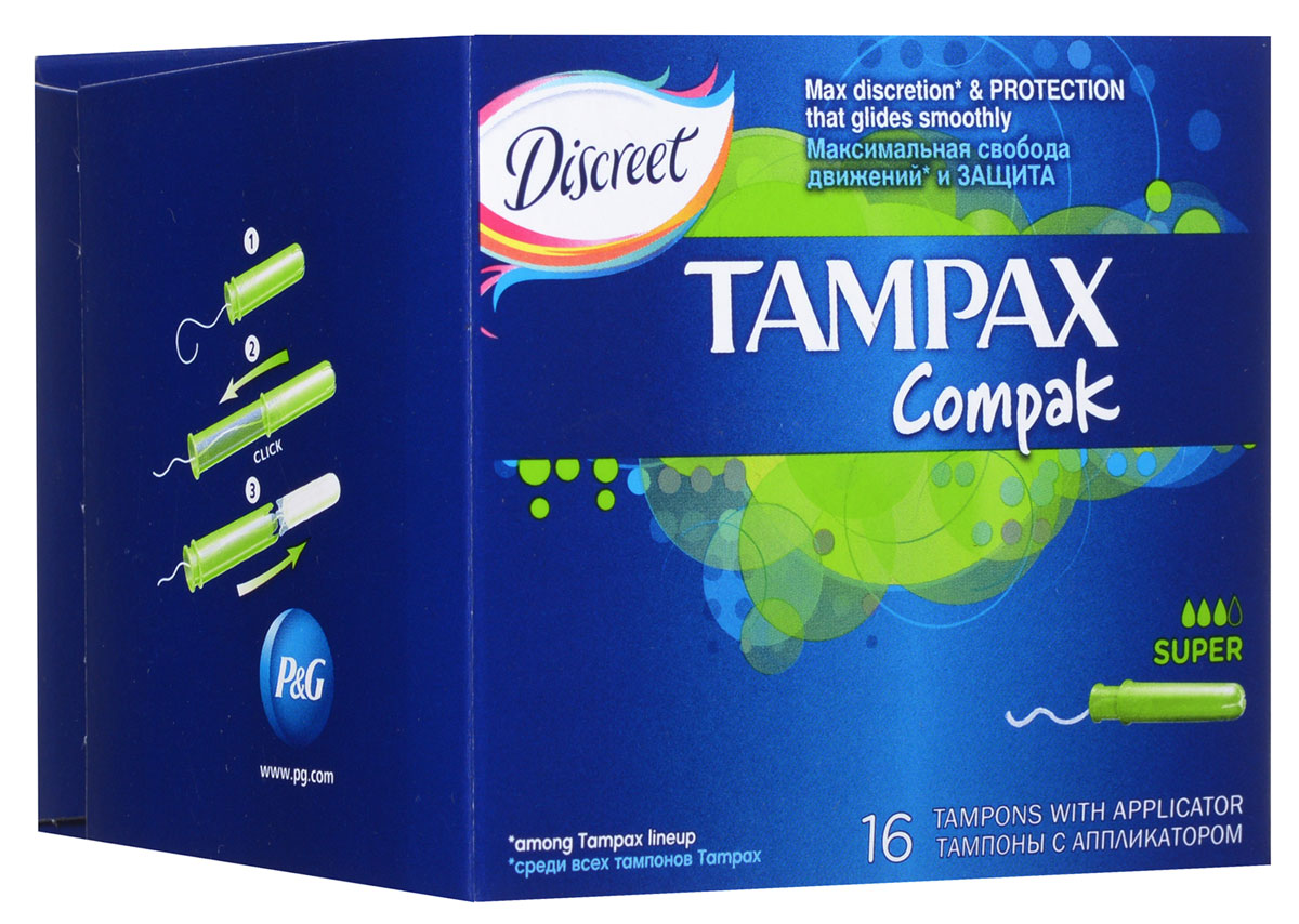 Тампоны женские гигиенические с аппликатором Tampax Compak Super, 16 штTM-83711117Тампон - одно из самых удобных, практичных и гигиеничных средств защиты во время критических дней. Тампоны Tampax Compak Super предназначены для умеренных и обильных выделений, снабжены цветной гладкой аппликаторной трубочкой, которая значительно облегчает введение тампона во влагалище и правильное его размещение, а также исключает прикосновение к нему руками.Тампоны для интимной гигиены женщин Tampax изготавливаются из смеси специально обработанного, отбеленного хлопкового волокна и вискозы, которая спрессовывается в цилиндрик. Каждый тампон упакован в индивидуальную упаковку. Все материалы, используемые в производстве женских гигиенических тампонов Tampax, безопасны для здоровья женщины, натуральны, хорошо утилизируются, не нанося вред окружающей среде. Сырье и готовая продукция подвергаются бактериологическому контролю в лаборатории страны-производителя. Характеристики:Впитываемость: 9-12 г. Размер упаковки: 9,5 см х 8 см х 8 см. Производитель: Венгрия. Товар сертифицирован.