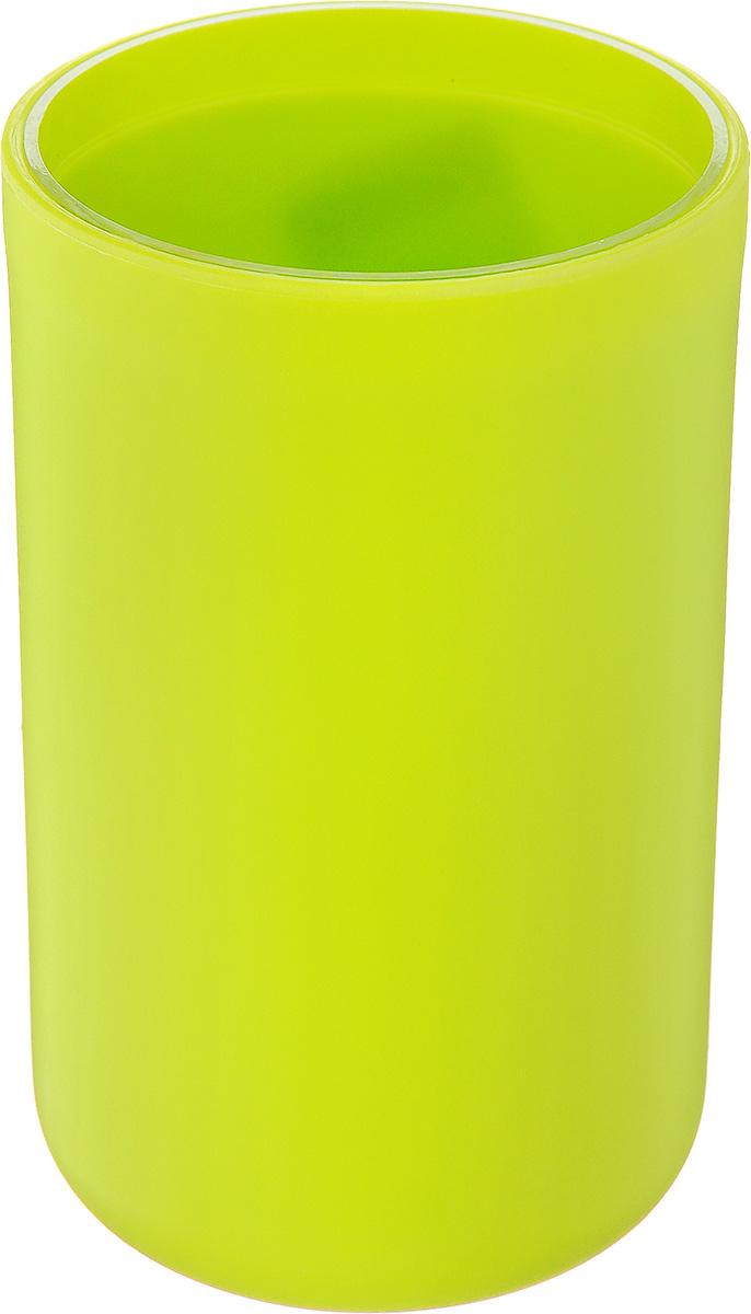 Стакан для ванной комнаты Vanstore Plastic Green, цвет: салатовый, высота 10,5 см vanstore green bamboo 301 04
