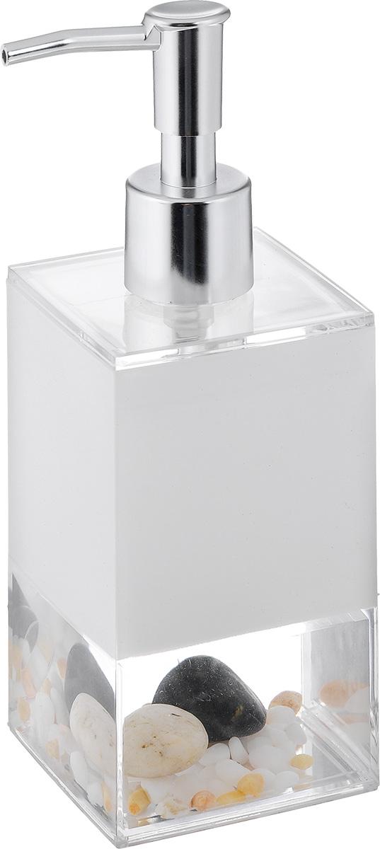 Дозатор для жидкого мыла Vanstore Stones, 300 мл383-03Дозатор для жидкого мыла Vanstore Stones, изготовленный из пластика, отлично подойдет для вашей ванной комнаты. Дозатор имеет двойные стенки, между которыми находится прозрачная нетоксичная жидкость с камнями разного размера. Такой аксессуар очень удобен в использовании, достаточно лишь перелить жидкое мыло в дозатор, а когда необходимо использование мыла, легким нажатием выдавить нужное количество. Дозатор для жидкого мыла Vanstore Stones создаст особую атмосферу уюта и максимального комфорта в ванной.Материалы: пластик, нетоксичная жидкость.Размер дозатора: 6,5 х 6,5 см.Высота дозатора: 19,5 см.