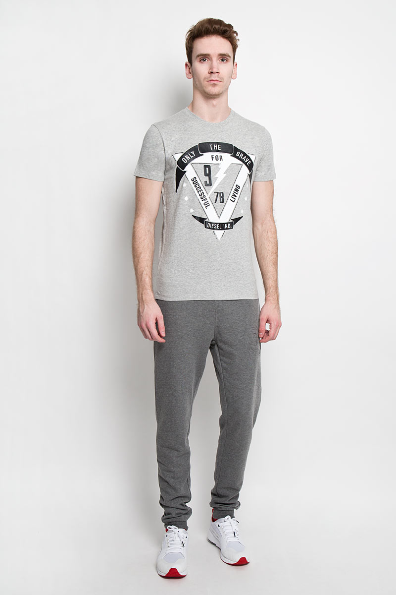Футболка мужская Diesel, цвет: серый. 00SN57_0091B/912. Размер XL (52) брюки для дома мужские diesel цвет синий 00sj3i 0damk 05 размер xl 50