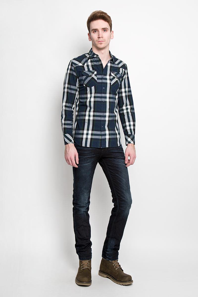 Рубашка мужская Diesel, цвет: темно-синий. 00SMRM_0JAJZ/81E. Размер XL (52) брюки для дома мужские diesel цвет синий 00sj3i 0damk 05 размер xl 50