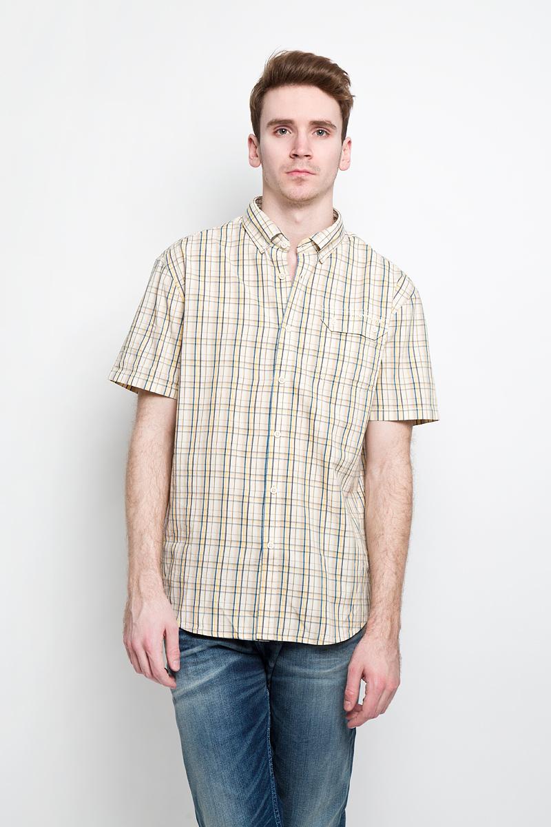 Рубашка мужская Finn Flare, цвет: бежевый. S15-22009. Размер L (50) мужская летом случайные рубашка с короткими рукавами