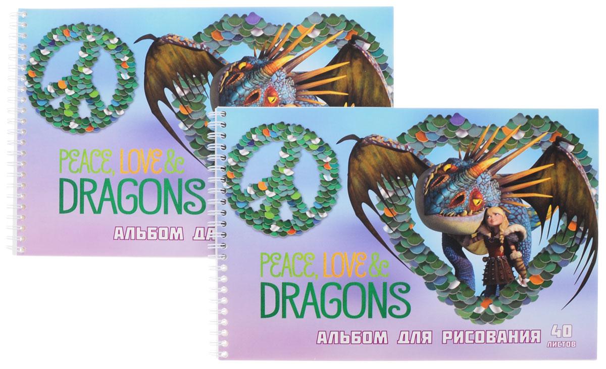 Action! Набор альбомов для рисования Dragons 40 листов 2 штDR-AAS-40_голубой драконАльбомы для рисования Action! Dragons порадуют маленького художника и вдохновят его на творчество. Альбомы на боковой металлической спирали изготовлены из белой офсетной бумаги с яркой обложкой из мелованного картона, оформленной изображением персонажей мультсериала Dragons.В альбоме 40 листов. Высокое качество бумаги позволяет рисовать в альбоме карандашами, фломастерами, акварельными и гуашевыми красками.В наборе два альбома.Создание собственных картинок приносит детям настоящее удовольствие. И увлечение изобразительным творчеством носит не только развлекательный характер: оно развивает цветовое восприятие, зрительную память и воображение. Во время рисования совершенствуется ассоциативное, аналитическое и творческое мышление. Занимаясь изобразительным творчеством, малыш тренирует мелкую моторику рук, становится более усидчивым и спокойным.