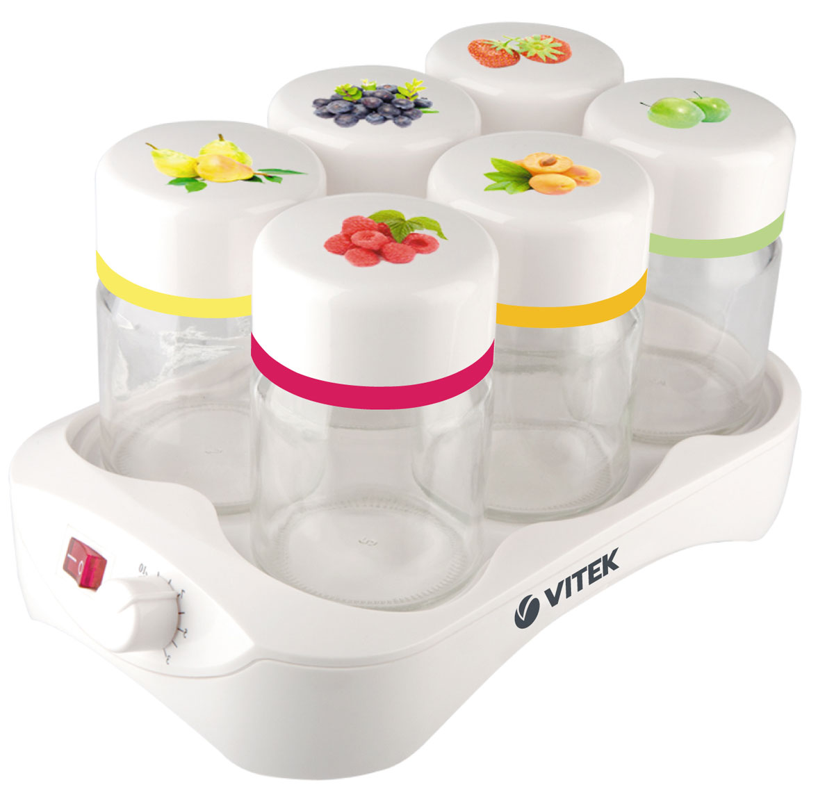 Vitek VT- 2600 W йогуртницаVT- 2600(W)Домашний йогурт – это не фантастика, если у вас есть йогуртница Vitek VT-2600 W. Компактное и надежное устройство порадует каждого, кто любит молочный десерт с разными вкусами. Простоту эксплуатации йогуртницы вы оцените при первом же ее использовании. Воспользовавшись таймером, вы можете приготовить десерт к нужному времени. А установив автоотключение - не ждать окончания работы устройства. Если же использовать данные опции одновременно, вы можете заняться любыми домашними делами и не переживать за приготовление йогурта! Йогуртница не перегревает кисломолочные продукты, что позволяет сохранить в них все полезные вещества.Легкий, вкусный, а главное полезный напиток из молока… Йогурт – тот продукт, который рекомендуется употреблять всем: от мала до велика. Однако не все знают, что йогурты, представленные на полках наших магазинов, натуральностью не отличаются. Вот почему есть смысл пользоваться замечательным прибором от Vitek – йогуртницой VT-2600, в которой приготовить йогурты с различными добавками очень просто!Компактная йогуртница с потребляемой мощностью 24 Вт представлена в белом цвете и, несомненно, впишется в интерьер любой кухни. Прибор оснащен шестью стеклянными баночками с закручивающимися крышками для приготовления и хранения йогурта. Вместимость каждой баночки 165 мл, что позволяет получить шесть полноценных стаканов полезного и вкусного продукта.В умном приборе также предусмотрен удобный таймер со световой индикацией, который облегчает процесс приготовления: вам не надо думать о том, когда выключить йогуртницу - она все сделает сама! Более того таймер поможет регулировать консистенцию продукта: вы можете выбрать нужно время для того, чтобы сделать более густой или жидкий йогурт! Автоматическое отключение прибора позволит держать процесс приготовления йогурта под контролем и узнать, когда продукт готов.Йогуртница Vitek VT-2600 – высокий иммунитет и отменное здоровье!Емкость баночки для йогурта: 165 млКоличество баноч
