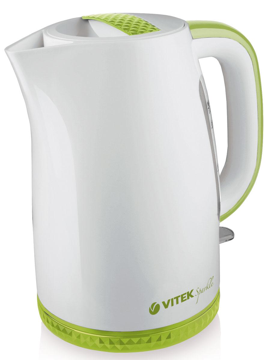 Vitek VT-1175 G электрочайникVT-1175(G)Электрический чайник Vitek VT-1175 G – это удивительное сочетание стиля и функциональности. С корпусом, выполненным из белоснежного высококачественного пищевого пластика с вставками нежного зеленого цвета чайник наполнит атмосферу вашей кухни теплом и уютом. Актуальный объем чайника 1,7 литра вместе с мощностью 2200 Вт позволят в считанные минуты вскипятить воду для любимых горячих напитков. Скрытый нагревательный элемент обеспечит безопасность использования и легкий уход за прибором. Нагревательный элемент покрыт нержавеющей сталью, что также позволит сохранить качество воды. Использование чайника особенно комфортно благодаря индикатору уровня воды – он обеспечивает более точное и простое отмеривание жидкости. Индикатор включения позволит визуально контролировать процесс начала и окончания работы прибора. Безопасность чайнику обеспечат блокировка включения без воды и блокировка крышки. Специальный фильтр успешно защитит ваш чайник от накипи и мелкого сора. Чайник удобно вращается на подставке на 360°, а также оснащен беспроводным подключением к подставке, что делает работу с ним еще более комфортной.