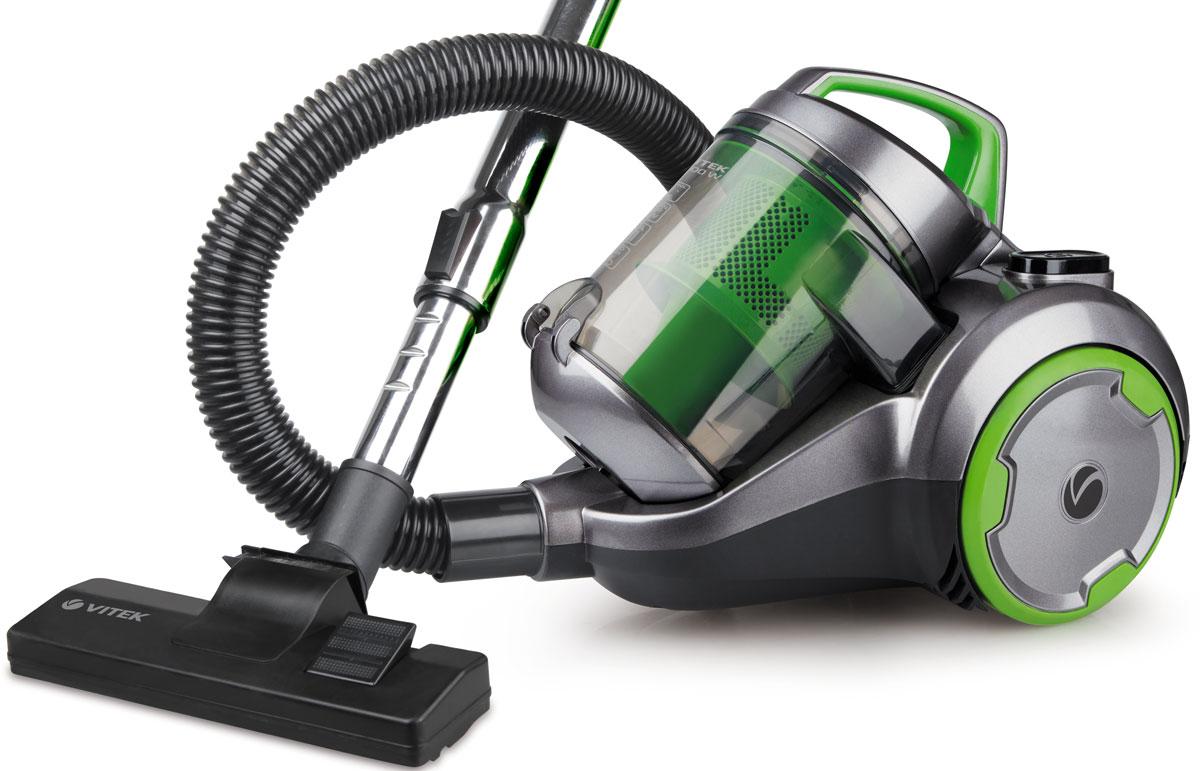 Vitek VT-1894 G пылесосVT-1894(G)Поддерживать чистоту в доме вам поможет пылесос без мешка для сбора пыли Vitek VT-1894 G. Данная надежная техника отличается высокой мощностью всасывания, герметичностью резервуара для пыли и несколькими системами фильтрации для более качественной уборки.Пылесос без мешка для сбора пыли бренда Vitek обладает рядом преимуществ: Во-первых, он прост в использовании. Быстрое включение и выключение, изменение мощности всасывания, автоматическое сматывание шнура и многое другое значительно упрощает процесс эксплуатации устройства. Одновременно с этим емкость для сбора пыли легко извлекается. Для ее очистки необходимо лишь высыпать пыль в мусорное ведро и сполоснуть контейнер под проточной водой. Во-вторых, пылесос без мешка для сбора пыли Vitek дополняется рядом необходимых насадок для удаления пыли, грязи и мусора на разных поверхностях и в любых труднодоступных местах. В-третьих, оснащается системой Cyclonic, которая способствует прессованию пыли в один комок, а также НЕРА-фильтром, улавливающим даже мельчайшие частички пыли, которые способны вызвать аллергию у человека.Как выбрать пылесос. Статья OZON Гид
