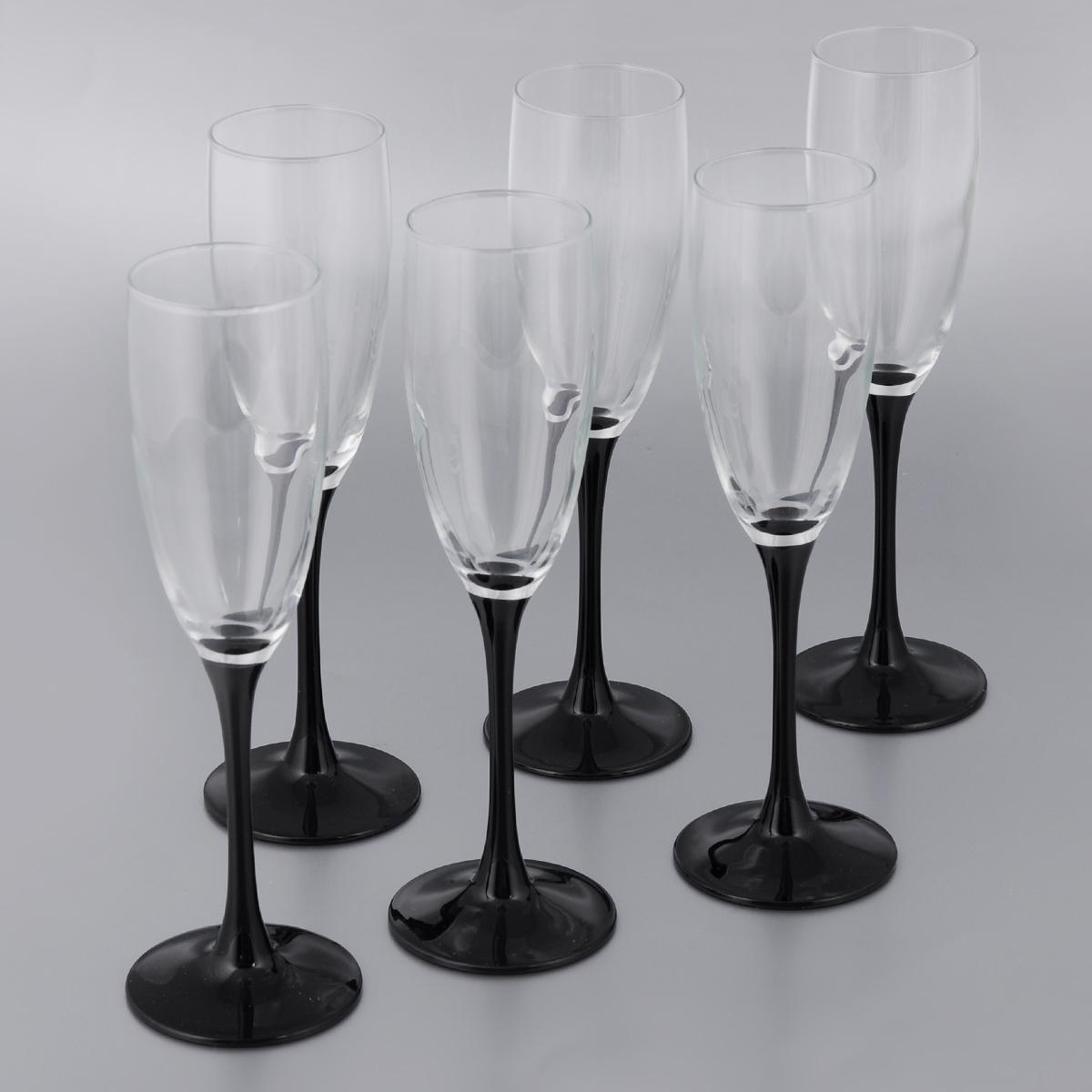 Набор фужеров для шампанского Luminarc Домино, 170 мл, 6 шт набор фужеров для шампанского luminarc французский ресторанчик 170 мл 6 шт