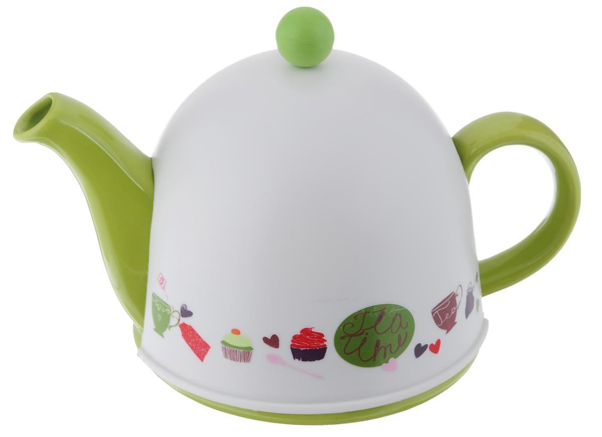 Чайник заварочный Mayer & Boch, с термоколпаком, цвет: салатовый, белый, 800 мл21142Заварочный чайник Mayer & Boch, выполненныйиз керамики, позволит вам заваритьсвежий, ароматный чай.Чайник оснащен сетчатым фильтром изнержавеющей стали. Он задерживает чаинки ипредотвращает их попадание в чашку. Сверху начайник надевается термоколпак из пластика стканевой прослойкой. Он поможет дольшеудерживать тепло, а значит, вода в чайнике дольшебудет оставаться горячей и пригодной длязаваривания чая.Заварочный чайник Mayer & Boch послужитхорошим подарком для друзей и близких. Высота чайника (без учета ручки и крышки): 9,5 см. Размер термоколпака: 14,5 х 14,5 х 13 см.
