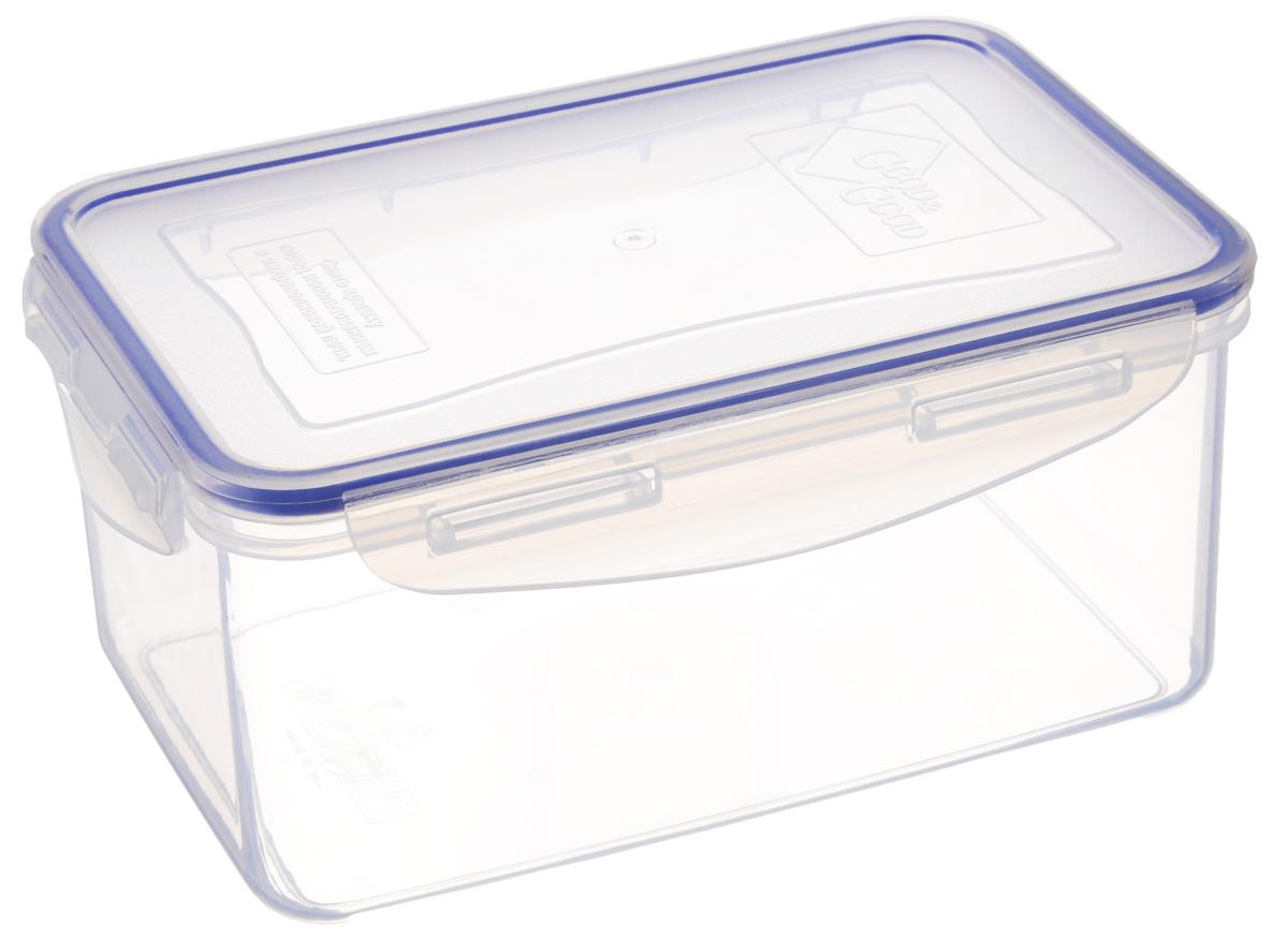 Контейнер для пищевых продуктов Good&Good, цвет: прозрачный, синий, 1,5 л. 3-23-2_прозрачный, синийКонтейнер Good&Good, изготовленный из высококачественного полипропилена, предназначен для хранения любых пищевых продуктов. Крышка с силиконовой вставкой герметично защелкивается специальным механизмом. Изделие устойчиво к воздействию масел и жиров, легко моется. Контейнер имеет возможность хранения продуктов глубокой заморозки, обладает высокой прочностью. Контейнер Good&Good удобен для ежедневного использования в быту.Можно мыть в посудомоечной машине и использовать в холодильнике и микроволновой печи.Размер контейнера (с учетом крышки): 13,5 х 20 х 9 см.