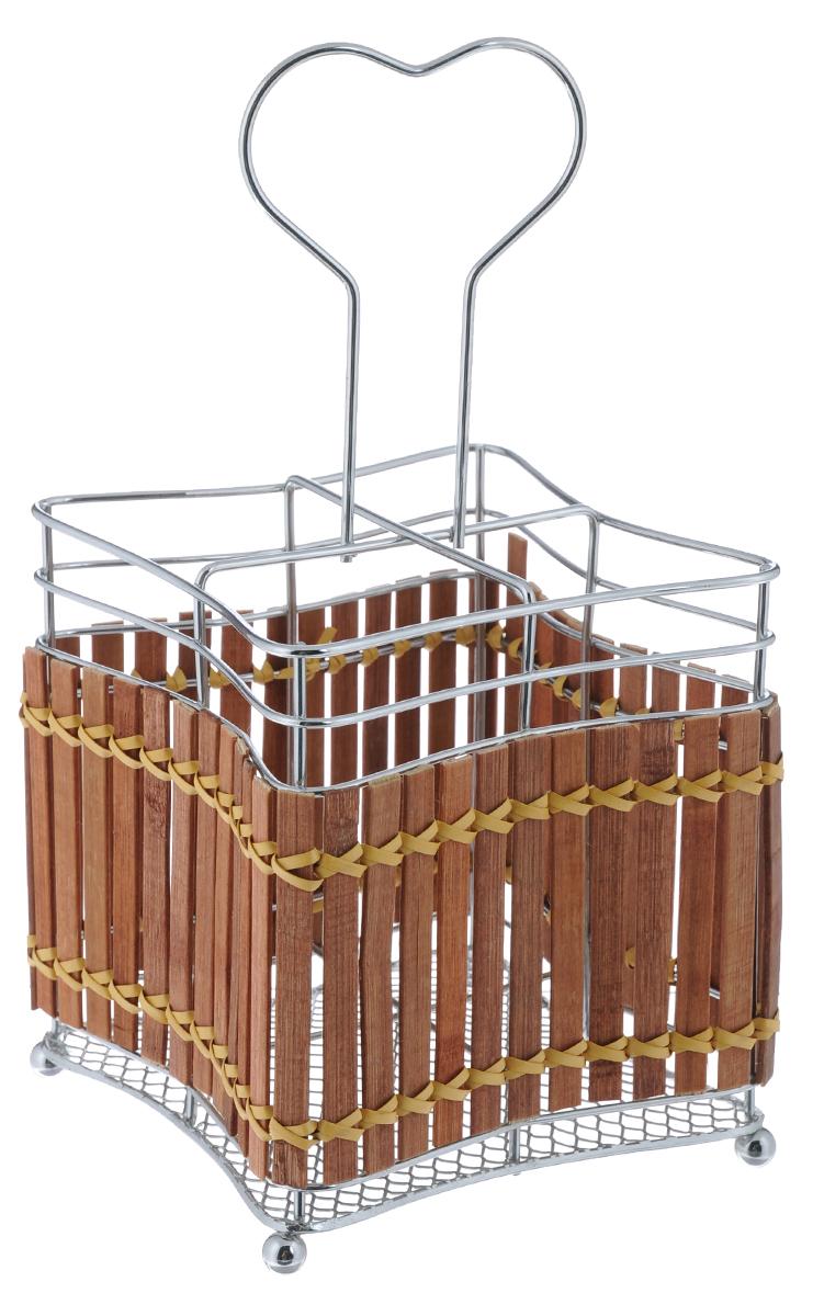 """Подставка для столовых приборов """"Mayer & Boch"""" изготовлена из металла с деревянной плетеной отделкой. Изделие имеет 4 секции для хранения различных столовых приборов. Дно подставки сетчатое. Для удобной переноски подставка снабжена ручкой.  Оригинальная и стильная подставка для столовых приборов отлично дополнит интерьер кухни и поможет аккуратно хранить ваши столовые приборы."""