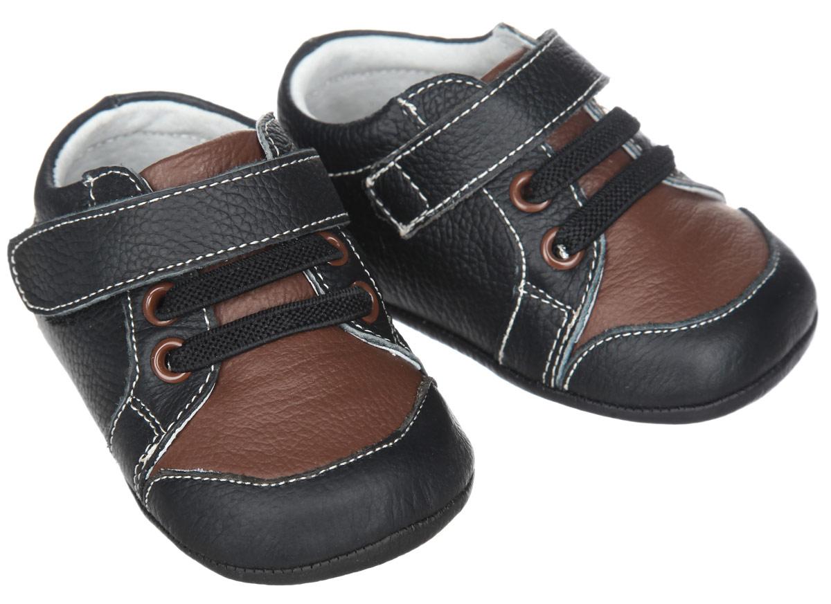 Пинетки для мальчика Hudson Baby Сникерсы, цвет: черный, коричневый. 54028. Размер 0/6 месяцев сникерсы обувь для девочек 11 лет