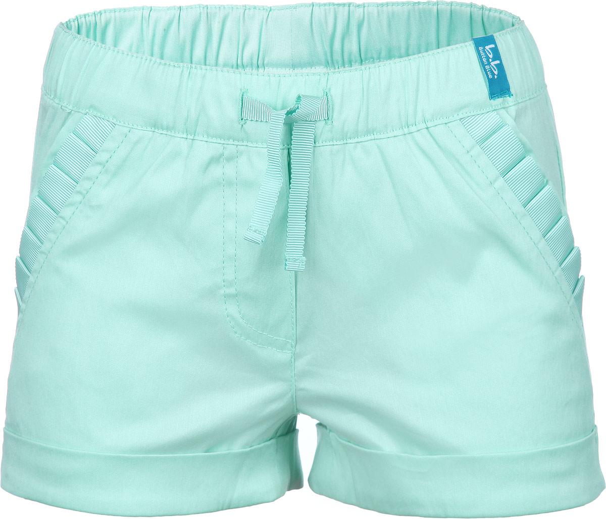 Шорты для девочки Button Blue, цвет: светло-зеленый. 116BBGM6001. Размер 104, 4 года