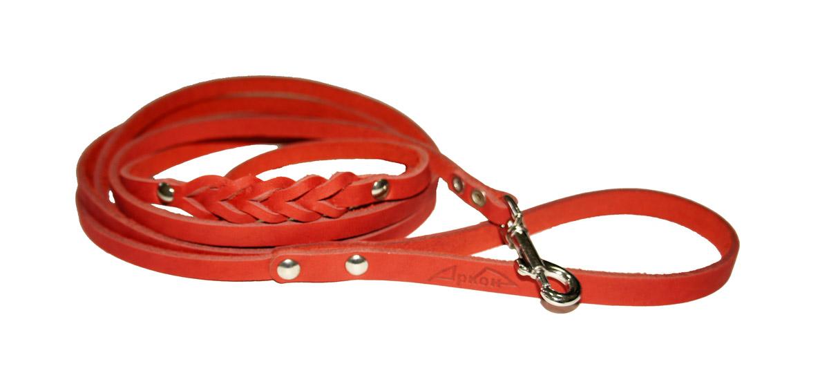 Поводок для собак Аркон Стандарт, цвет: красный, ширина 1,1 см, длина 250 смп11дкрПоводок для собак Аркон Стандарт изготовлен из высококачественной натуральной кожи и украшен декором в виде плетения. Карабин выполнен из легкого сверхпрочного сплава. Изделие отличается не только исключительной надежностью и удобством, но и привлекательным современным дизайном.Поводок - необходимый аксессуар для собаки. Ведь в опасных ситуациях именно он способен спасти жизнь вашему любимому питомцу. Иногда нужно ограничивать свободу своего четвероногого друга, чтобы защитить его или себя от неприятностей на прогулке. Длина поводка: 250 см.Ширина поводка: 1,1 см.