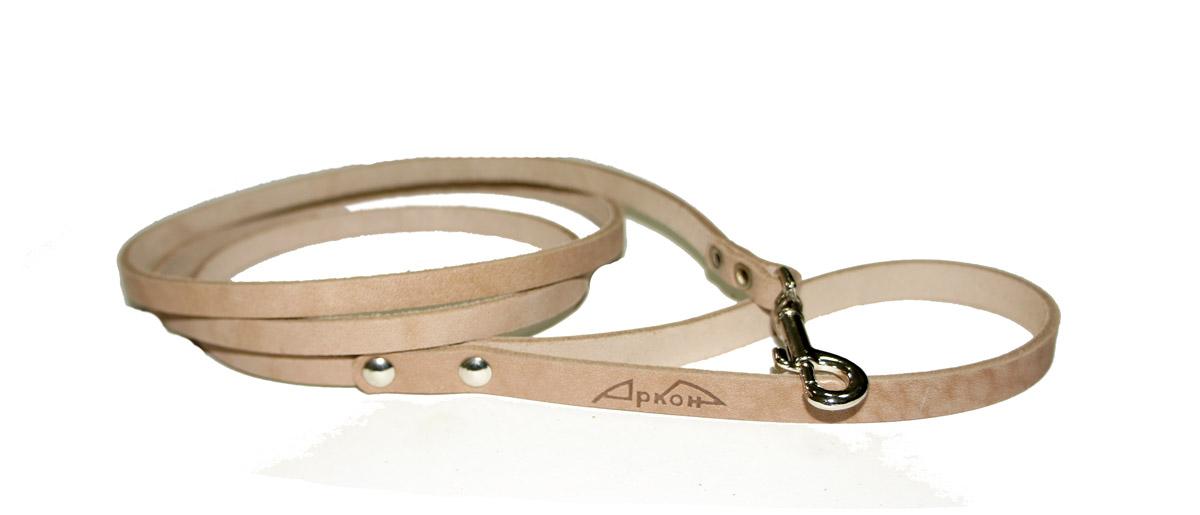 Поводок для собак Аркон Стандарт, цвет: бежевый, ширина 0,8 см, длина 140 смп8Поводок для собак Аркон Стандарт изготовлен из высококачественной натуральной кожи. Карабин выполнен из легкого сверхпрочного сплава. Изделие отличается не только исключительной надежностью и удобством, но и привлекательным современным дизайном.Поводок - необходимый аксессуар для собаки. Ведь в опасных ситуациях именно он способен спасти жизнь вашему любимому питомцу. Иногда нужно ограничивать свободу своего четвероногого друга, чтобы защитить его или себя от неприятностей на прогулке. Длина поводка: 140 см.Ширина поводка: 0,8 см.