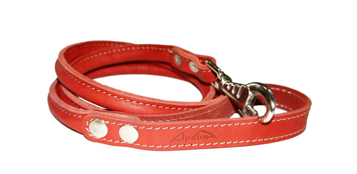 Поводок для собак Аркон Стандарт, цвет: красный, ширина 1,6 см, длина 140 см. пкпккрКруглый поводок для собак Аркон Стандарт изготовлен из высококачественной натуральной кожи. Карабин выполнен из легкого сверхпрочного сплава. Изделие отличается не только исключительной надежностью и удобством, но и привлекательным современным дизайном.Поводок - необходимый аксессуар для собаки. Ведь в опасных ситуациях именно он способен спасти жизнь вашему любимому питомцу. Иногда нужно ограничивать свободу своего четвероногого друга, чтобы защитить его или себя от неприятностей на прогулке. Длина поводка: 140 см.Ширина поводка: 1,6 см.