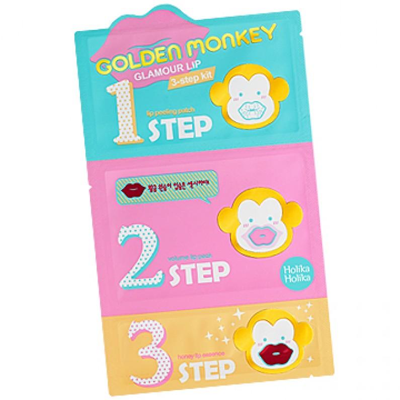 Holika Holika 3-х ступенчатый набор средств для ухода за губами Golden Monkey, 7г х 3 ночная маска holika holika honey sleeping pack canola объем 90 мл